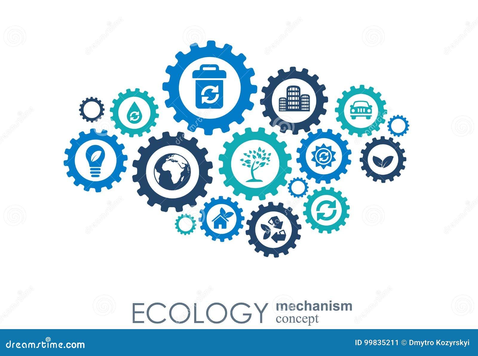 Concept de mécanisme d écologie Fond abstrait avec les vitesses et les icônes reliées pour écologique, énergie, environnement