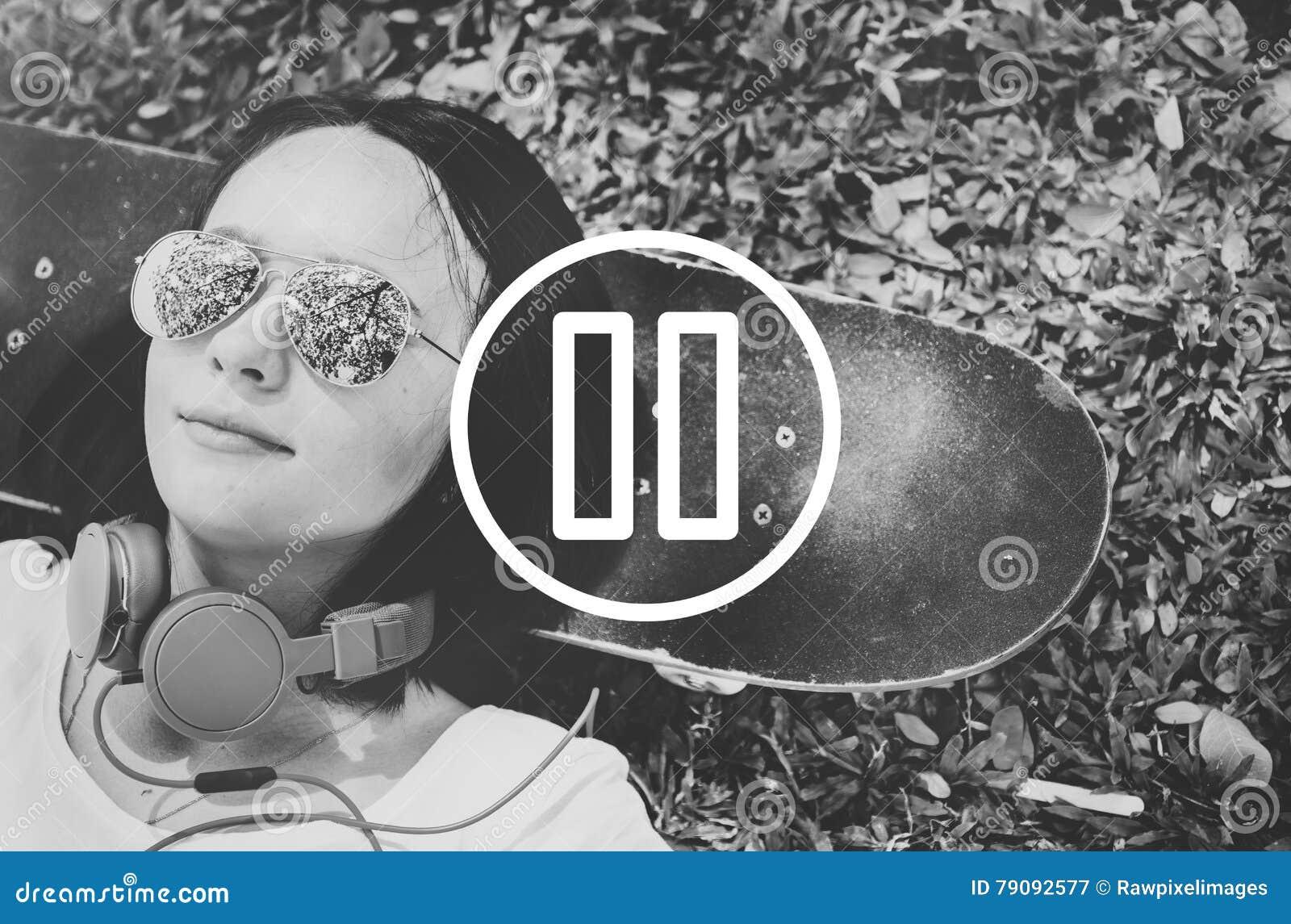 Concept de media de musique de film de joueur de pause