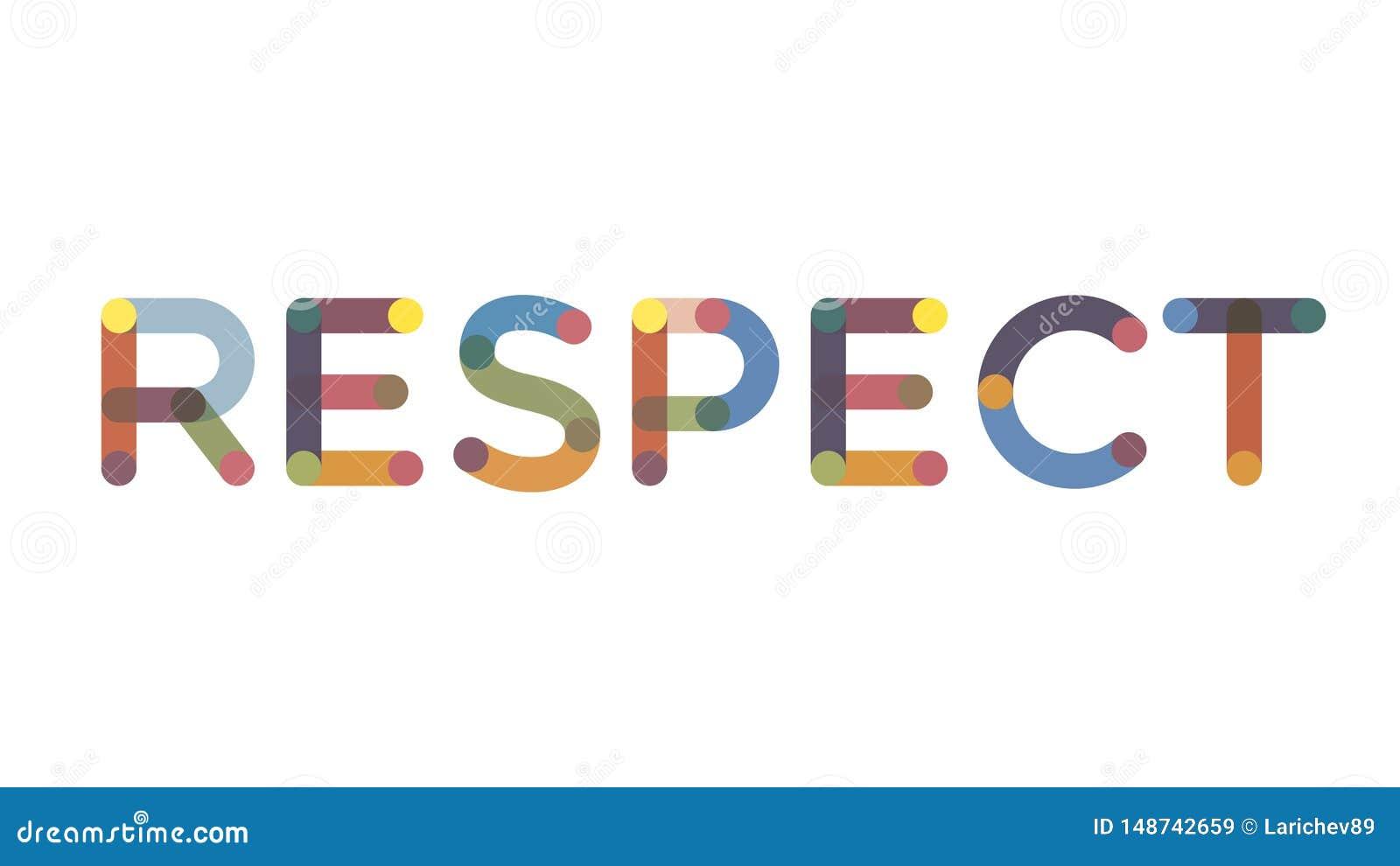 Concept de mot de respect Respect écrit sur le fond blanc Utilisation pour la couverture, banni?re, blog
