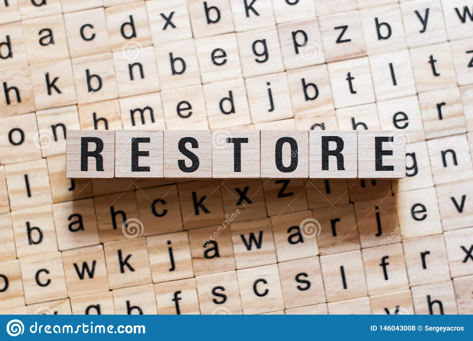 Concept de mot de restauration
