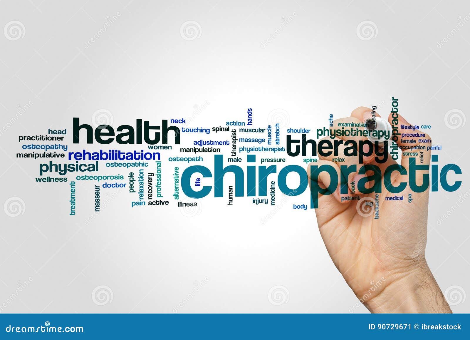 Concept de nuage de mot de chiropractie sur le fond gris