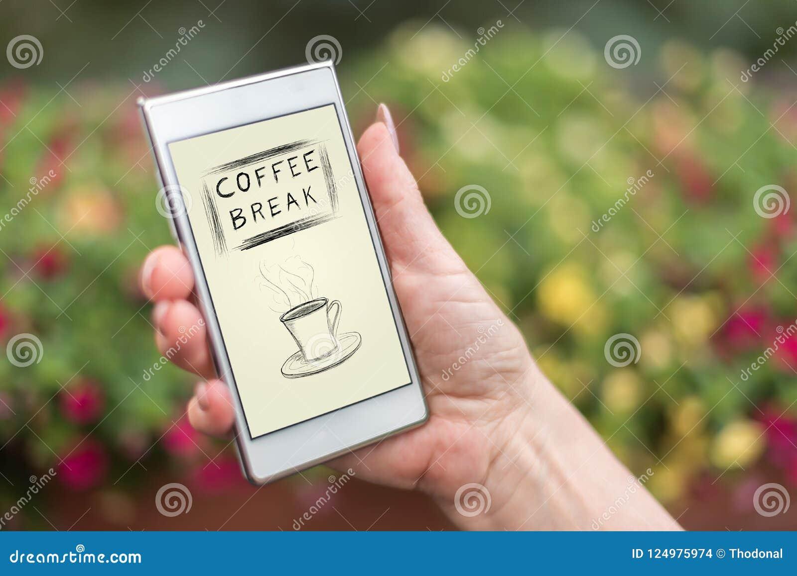 Concept de pause-café sur un smartphone