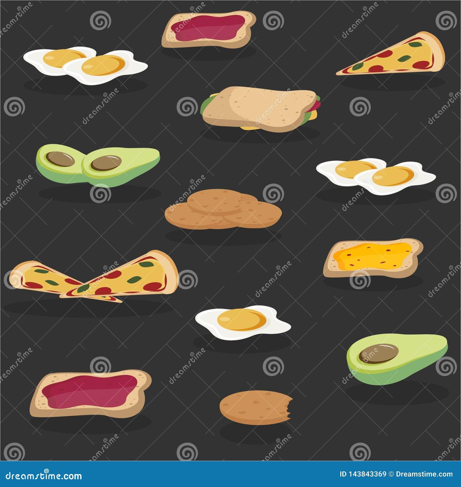 Concept de petit d?jeuner de vecteur r?gl? avec la nourriture et les boissons avec les ic?nes plates en composition Sandwich ? co