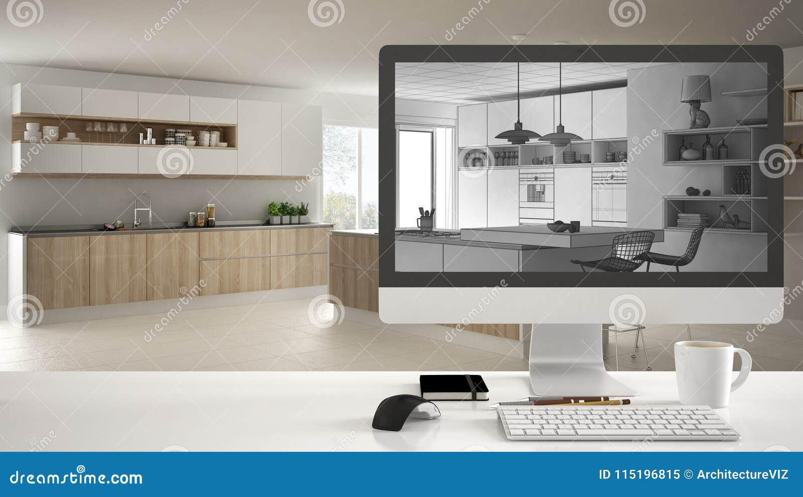 Concept De Projet De Maison D\'architecte, Ordinateur De ...