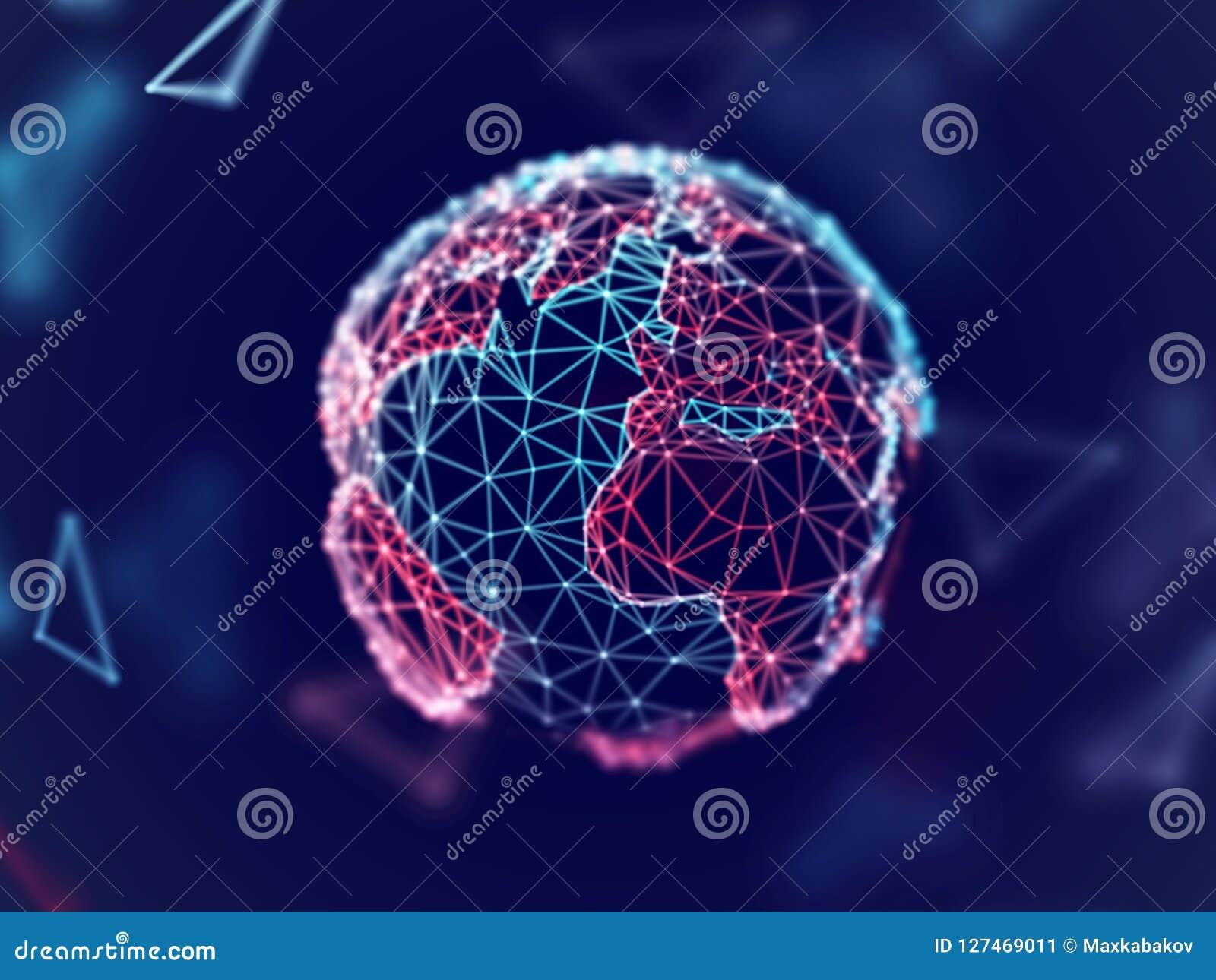 Concept de réseau global : la terre numérique de planète avec des lignes de connexion