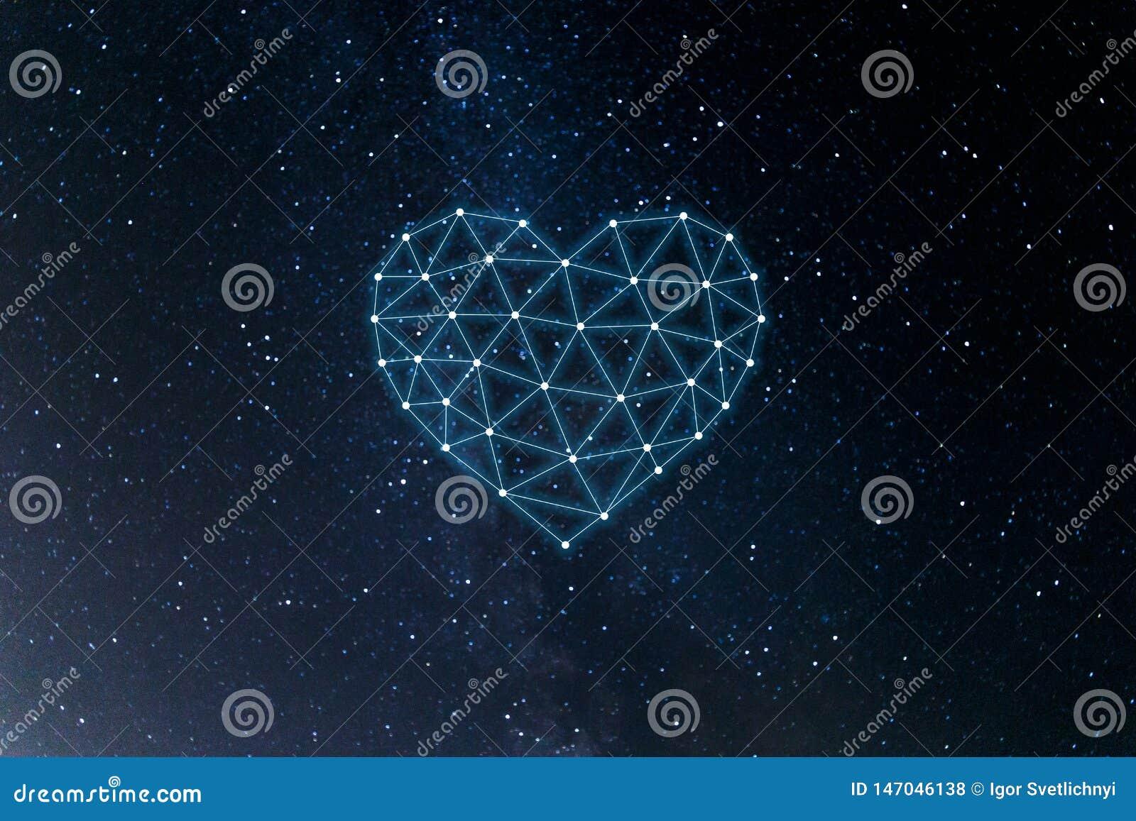 Concept de r?seau neurologique avec le coeur sur le fond de l espace Intelligence artificielle, machine et ?tude profonde, r?seau