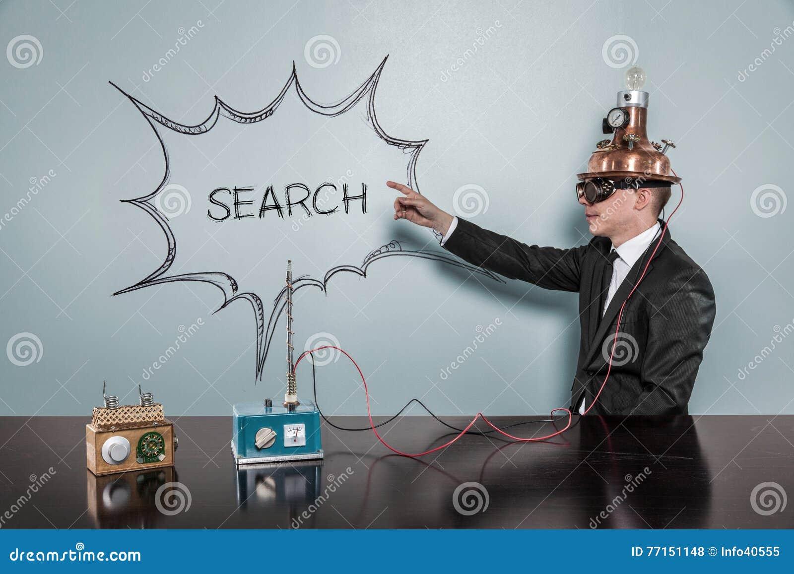 Concept de recherche avec l homme d affaires de vintage