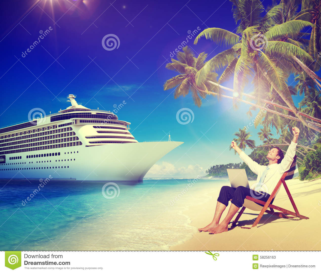 Concept de relaxation de Beach Cruise Ship d homme d affaires