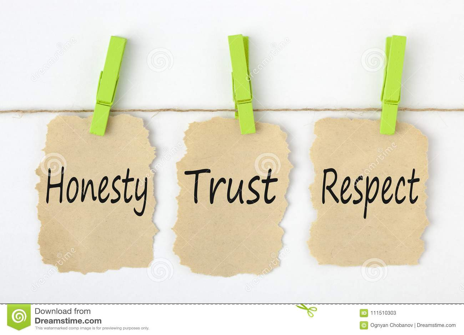 Concept de respect de confiance d honnêteté
