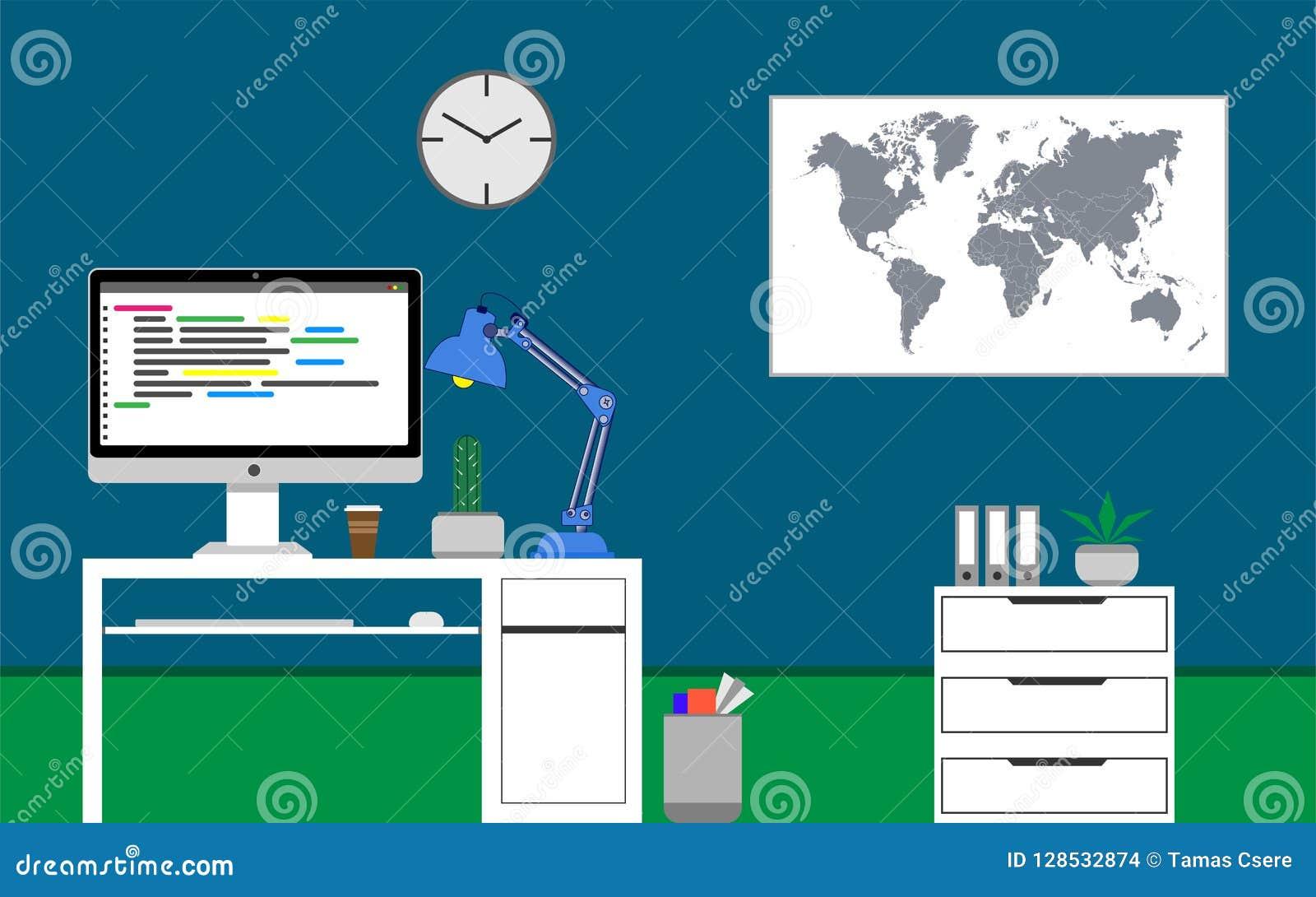 Concept de siège social Code de programmation de Java sur le moniteur Cactus sur le bureau Illustration de vecteur