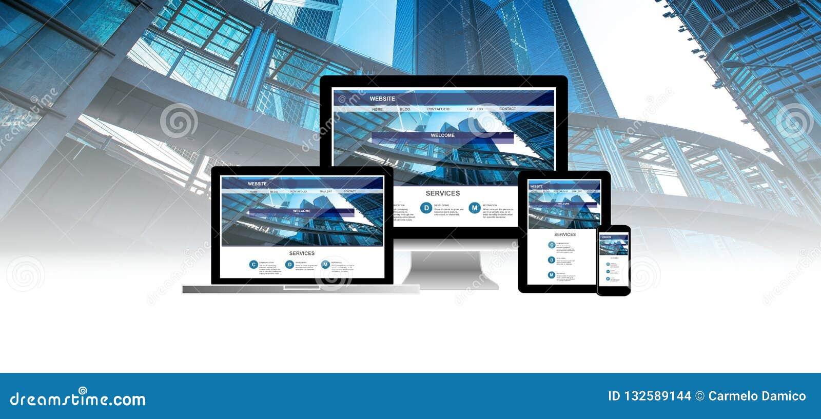 Concept de site Web au téléphone de comprimé d ordinateur portable d ordinateur