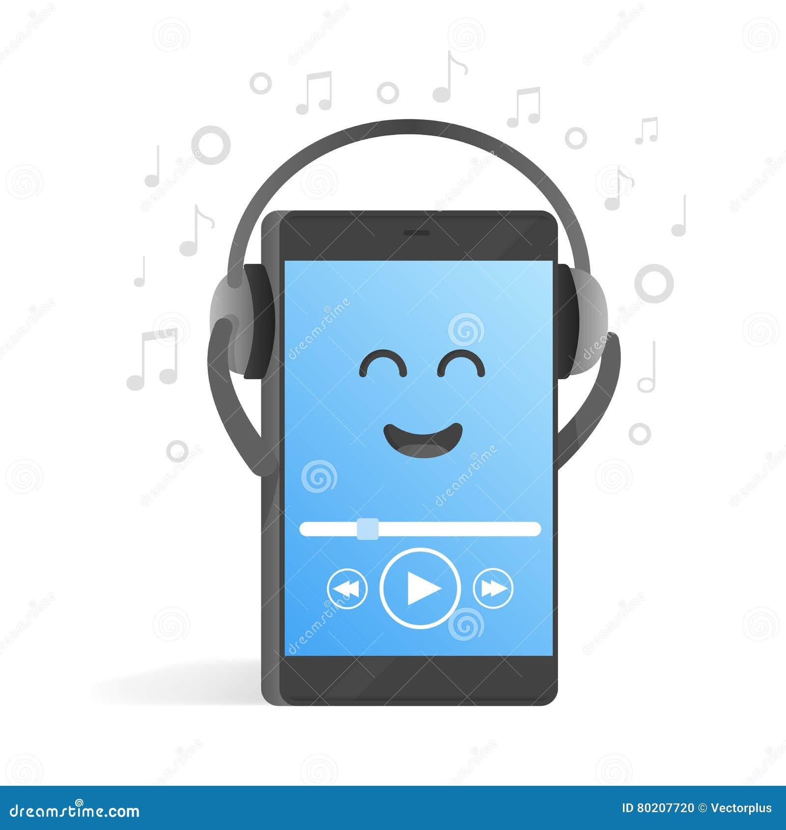 concept de smartphone d 39 couter la musique sur des couteurs fond des notes t l phone mignon de. Black Bedroom Furniture Sets. Home Design Ideas