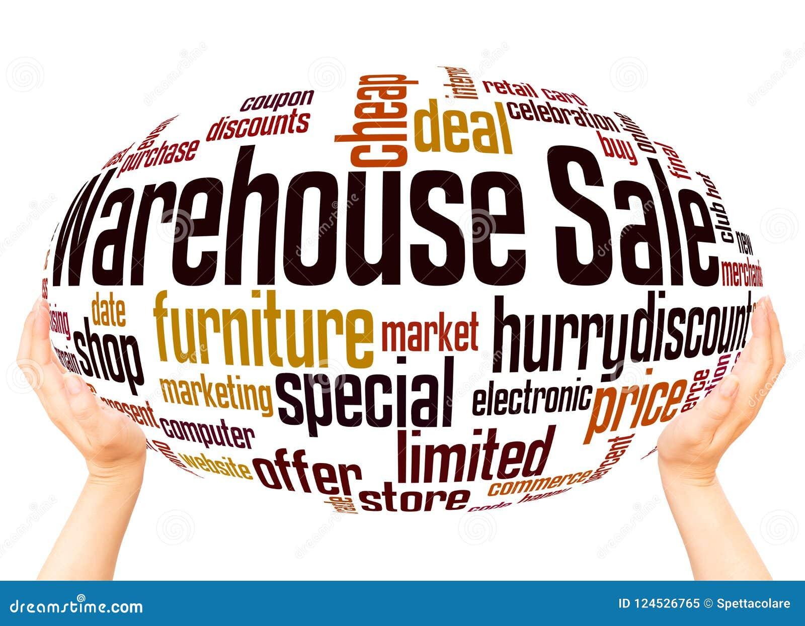 Concept de sphère de main de nuage de mot de vente d entrepôt