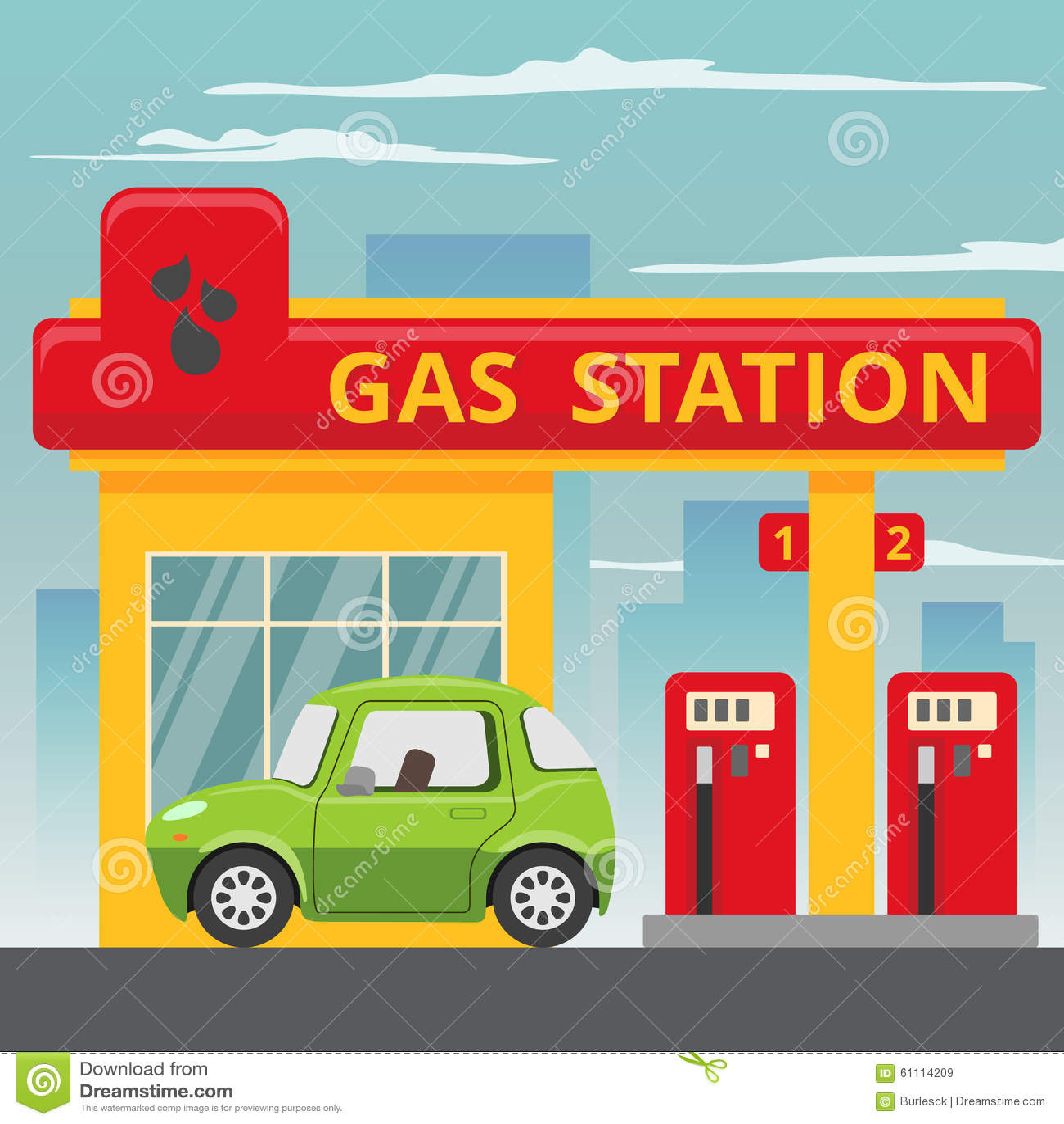 Concept de station service d essence dans le style plat de conception
