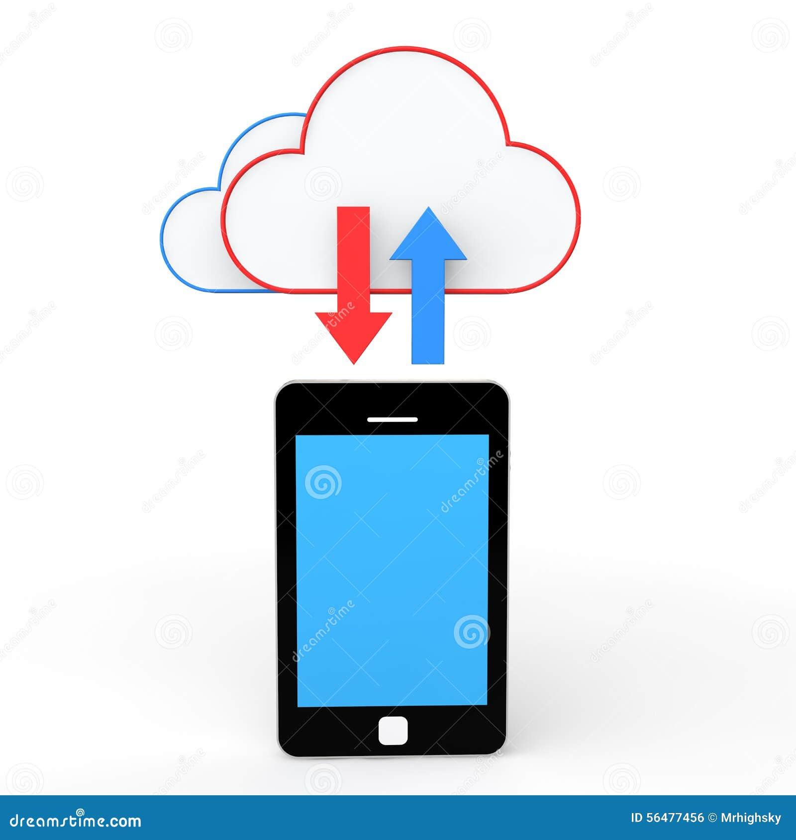 Concept de stockage du téléphone portable 3d et du nuage