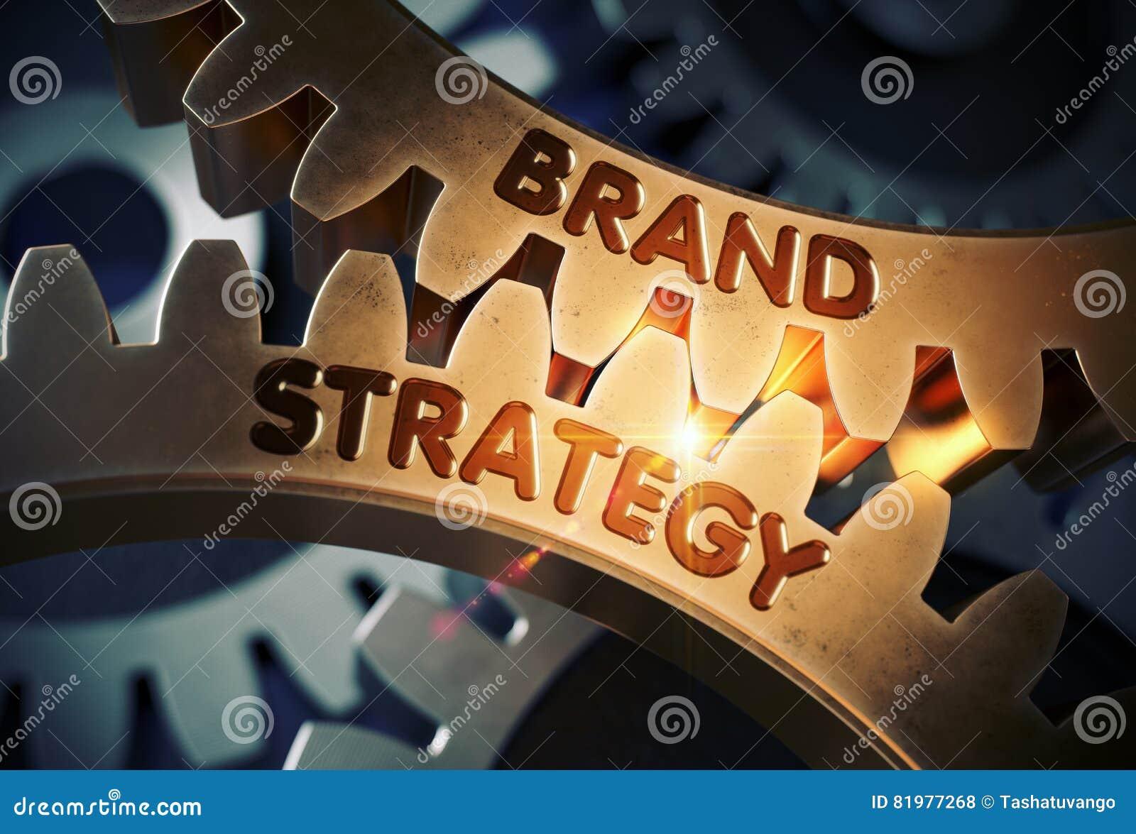 Concept de stratégie de marque Trains d or de dent illustration 3D