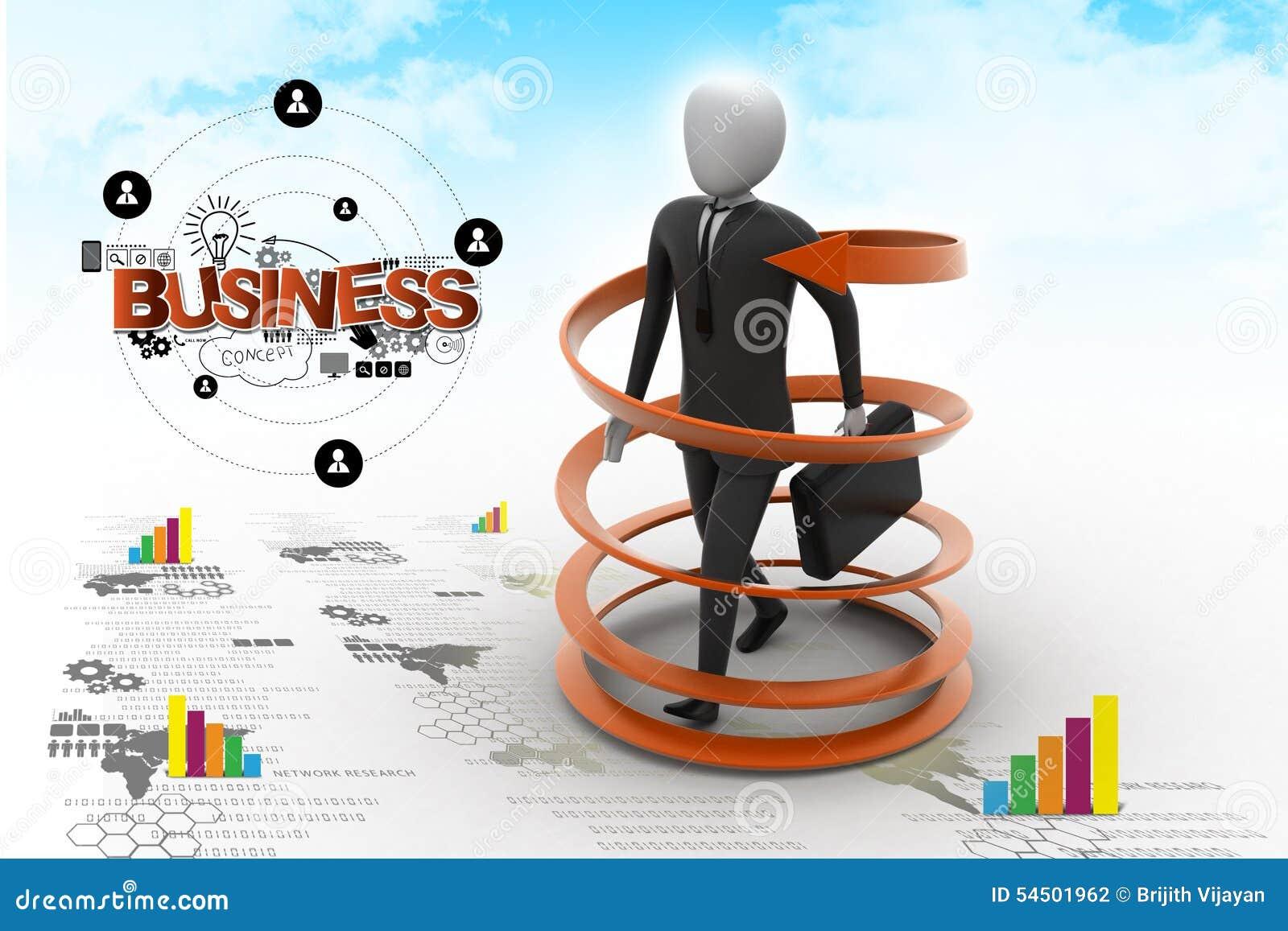 Concept de succès commercial de l homme 3d