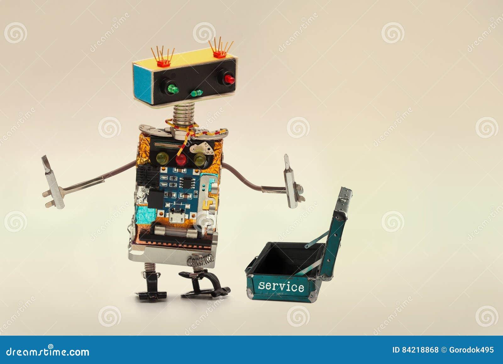 Concept de support après-vente Travailleur de technicien avec les tournevis et la valise ouverte de boîte à outils de bagages Car