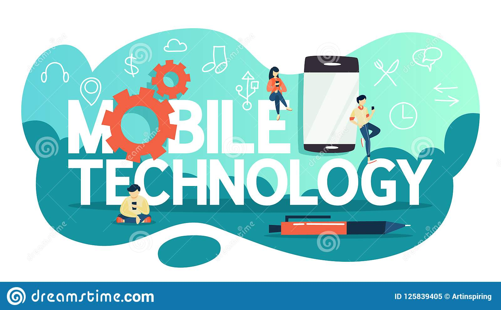 Concept De Technologie De Telephone Portable Idee De Progres Numerique Illustration De Vecteur Illustration Du Portable Telephone 125839405