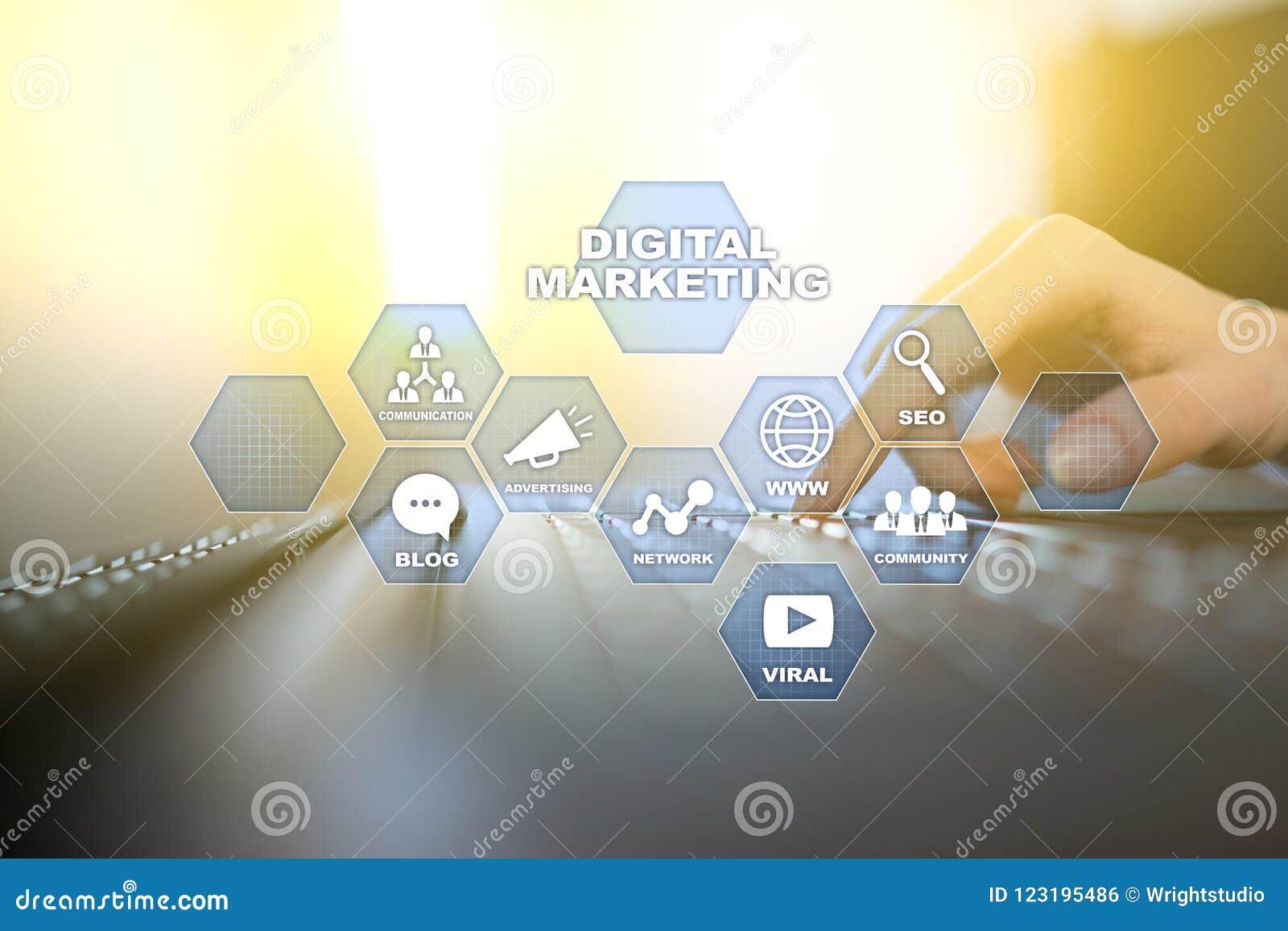Concept de technologie de vente de Digital Internet En ligne Optimisation de moteur de recherche Seo SMM advertising