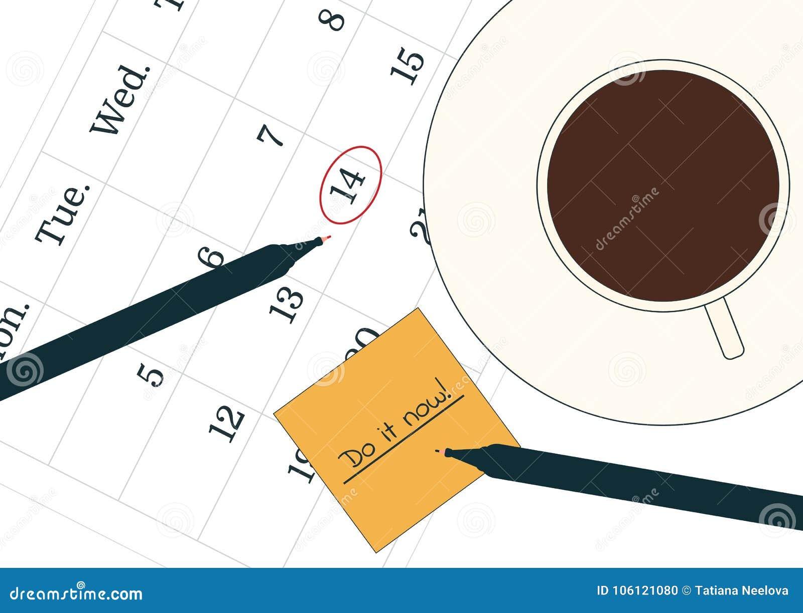Courrier Et Calendrier.Concept De Temporisation Une Tasse De Cafe Noir Sur Le
