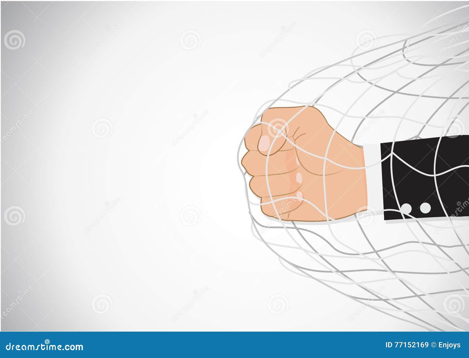 Concept de trémail de poinçon de Hand d homme d affaires
