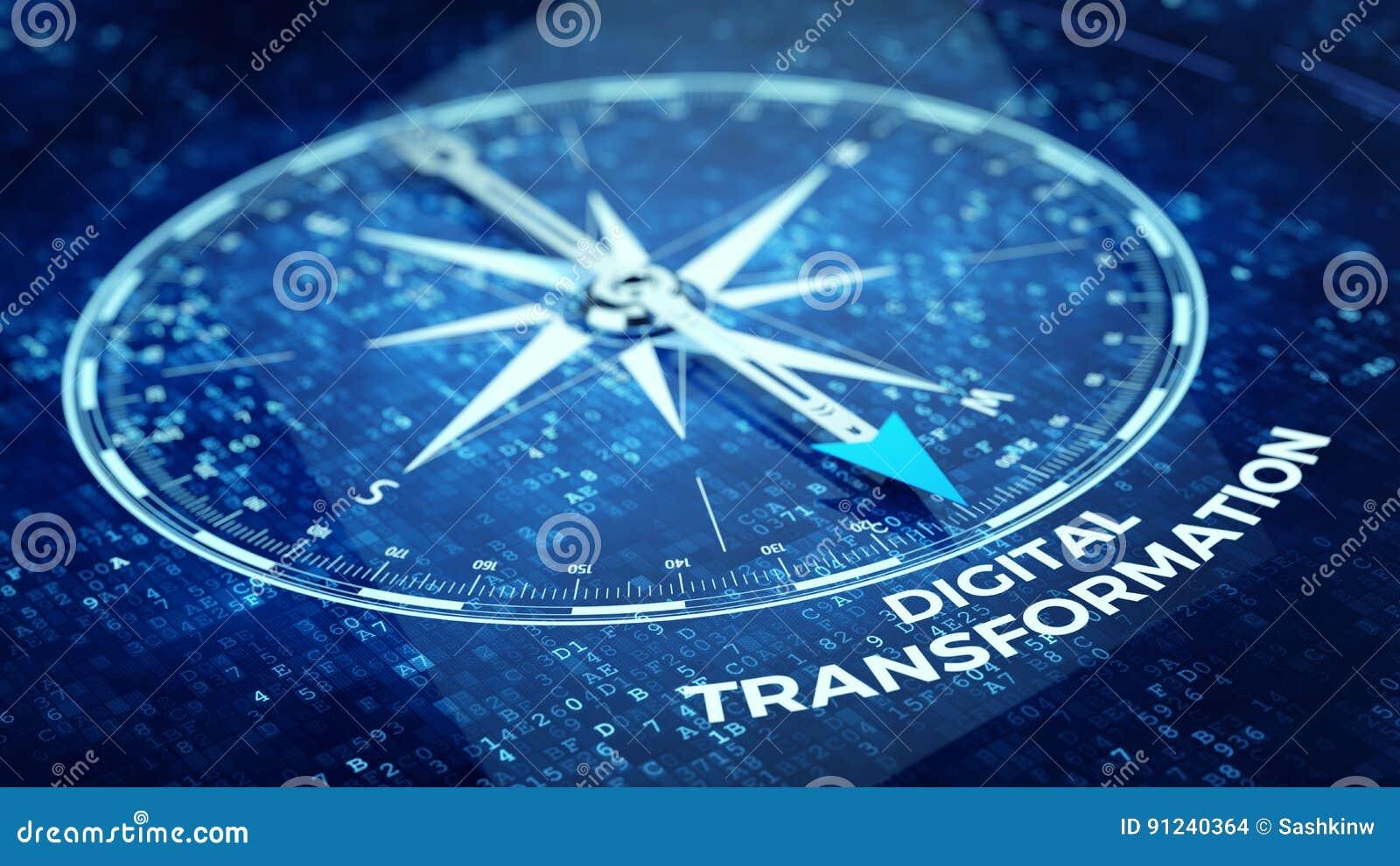 Concept de transformation de Digital - faites le tour de l aiguille dirigeant le mot de transformation de Digital