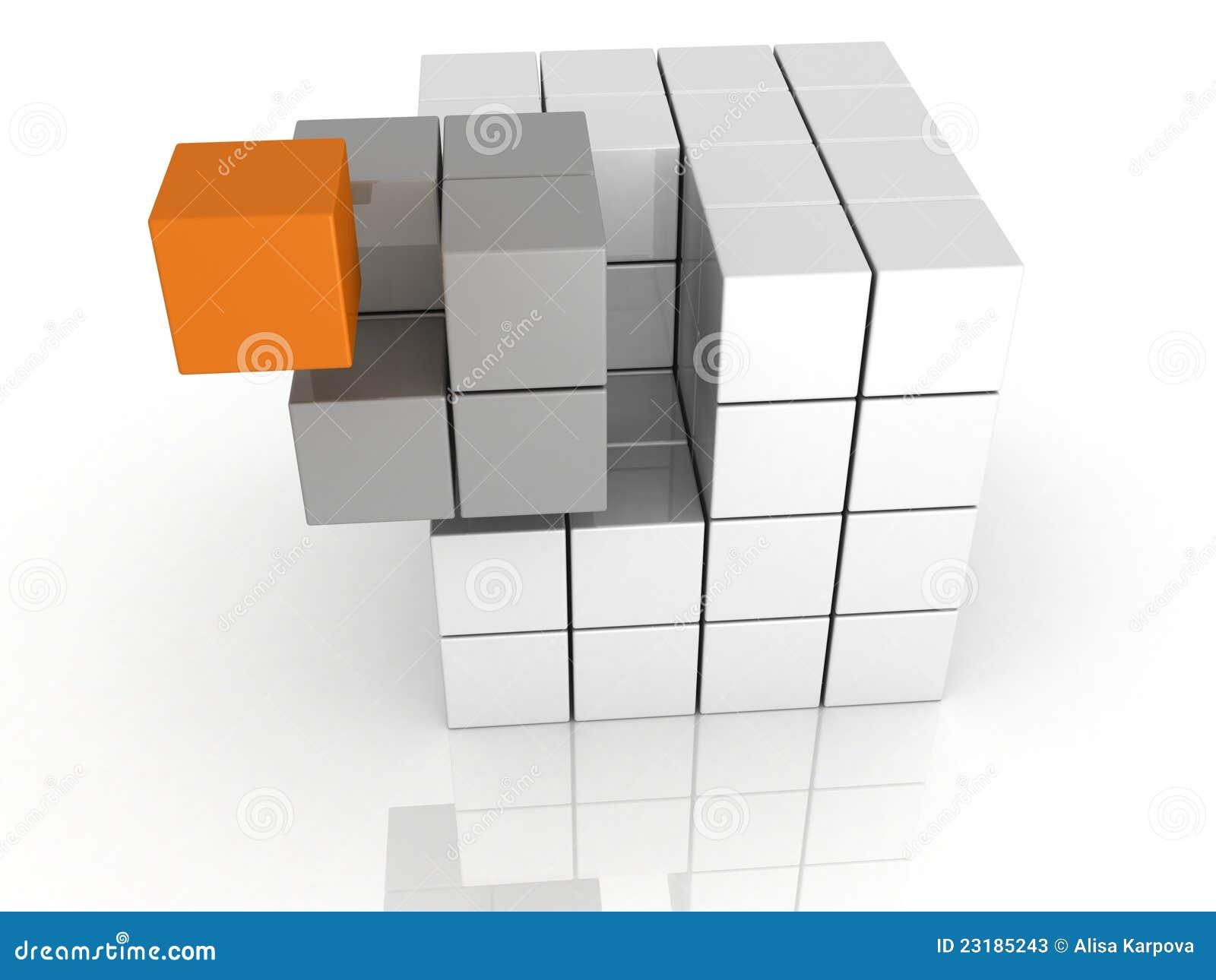 Concept de travail d équipe de cube en unicue d individualité