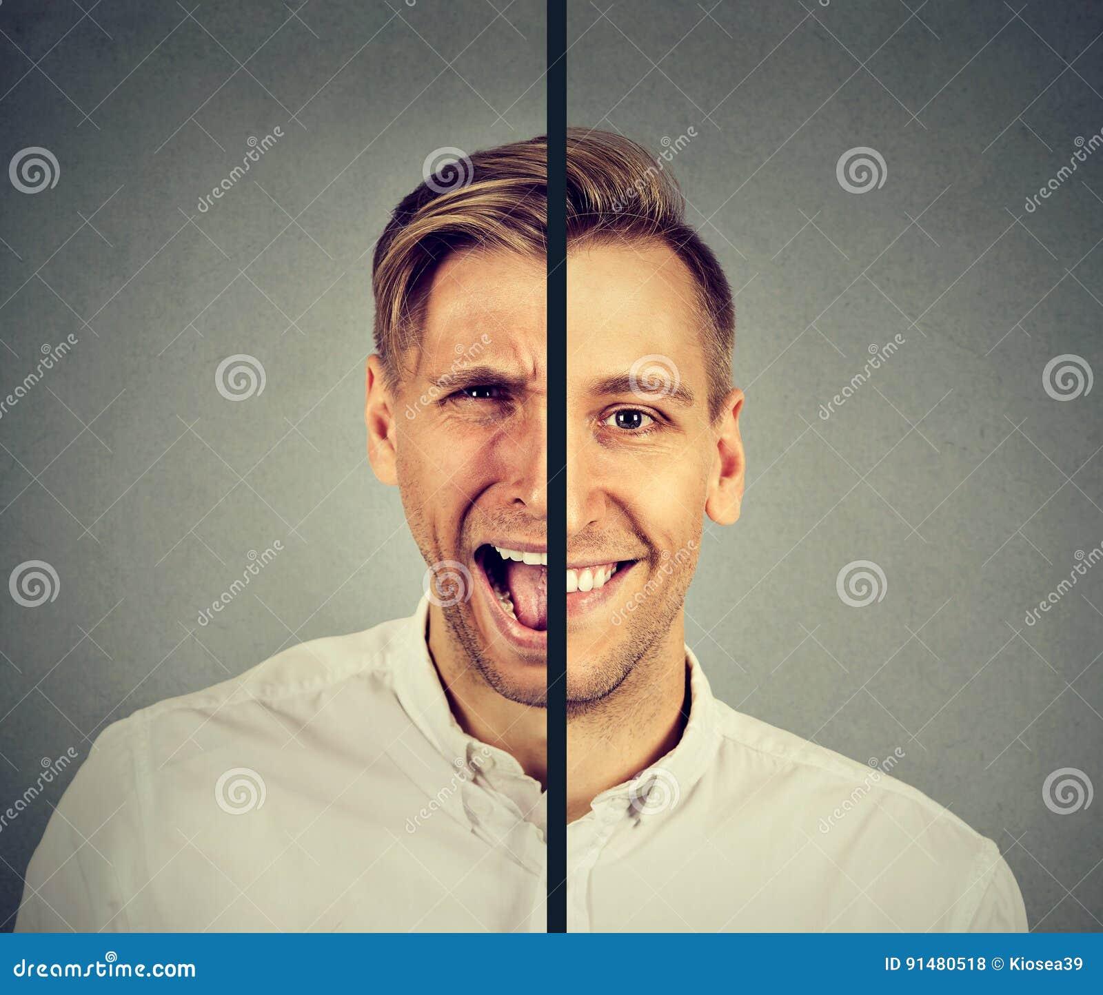 Concept de trouble bipolaire Jeune homme avec la double expression de visage