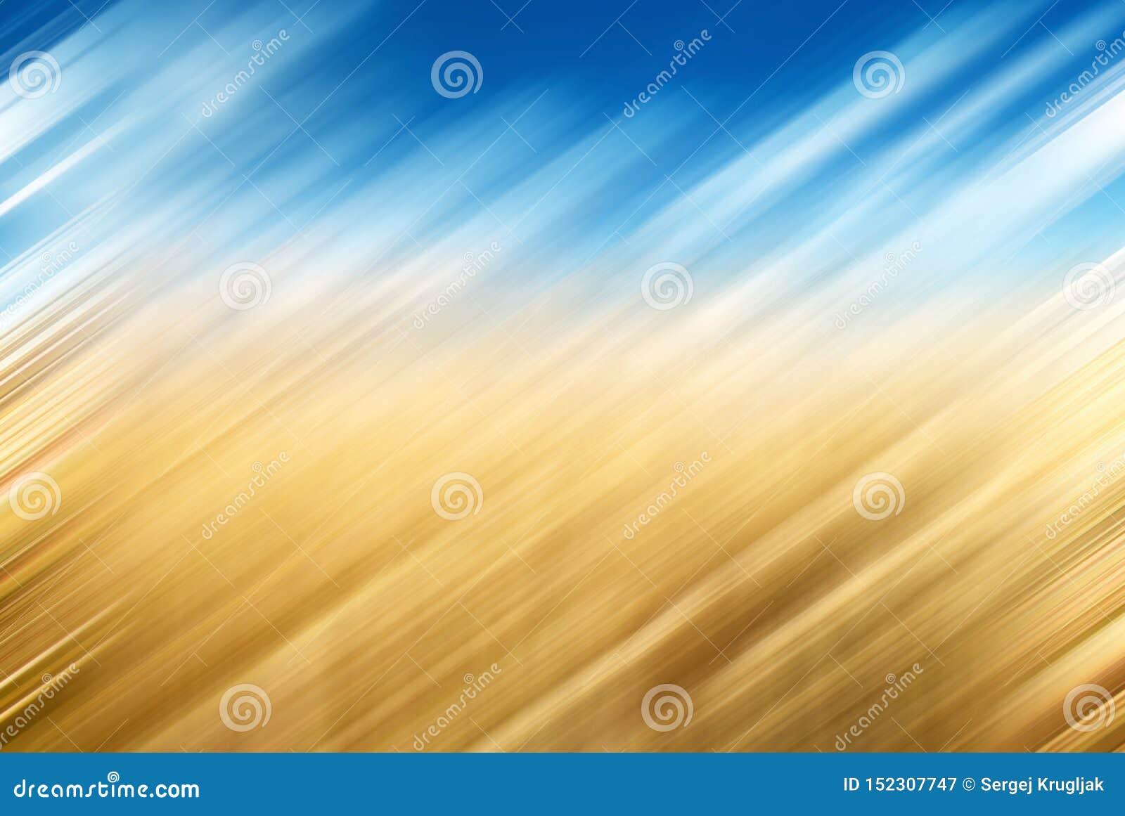 Concept de vacances d été : Bleu brouillé abstrait, fond jaune