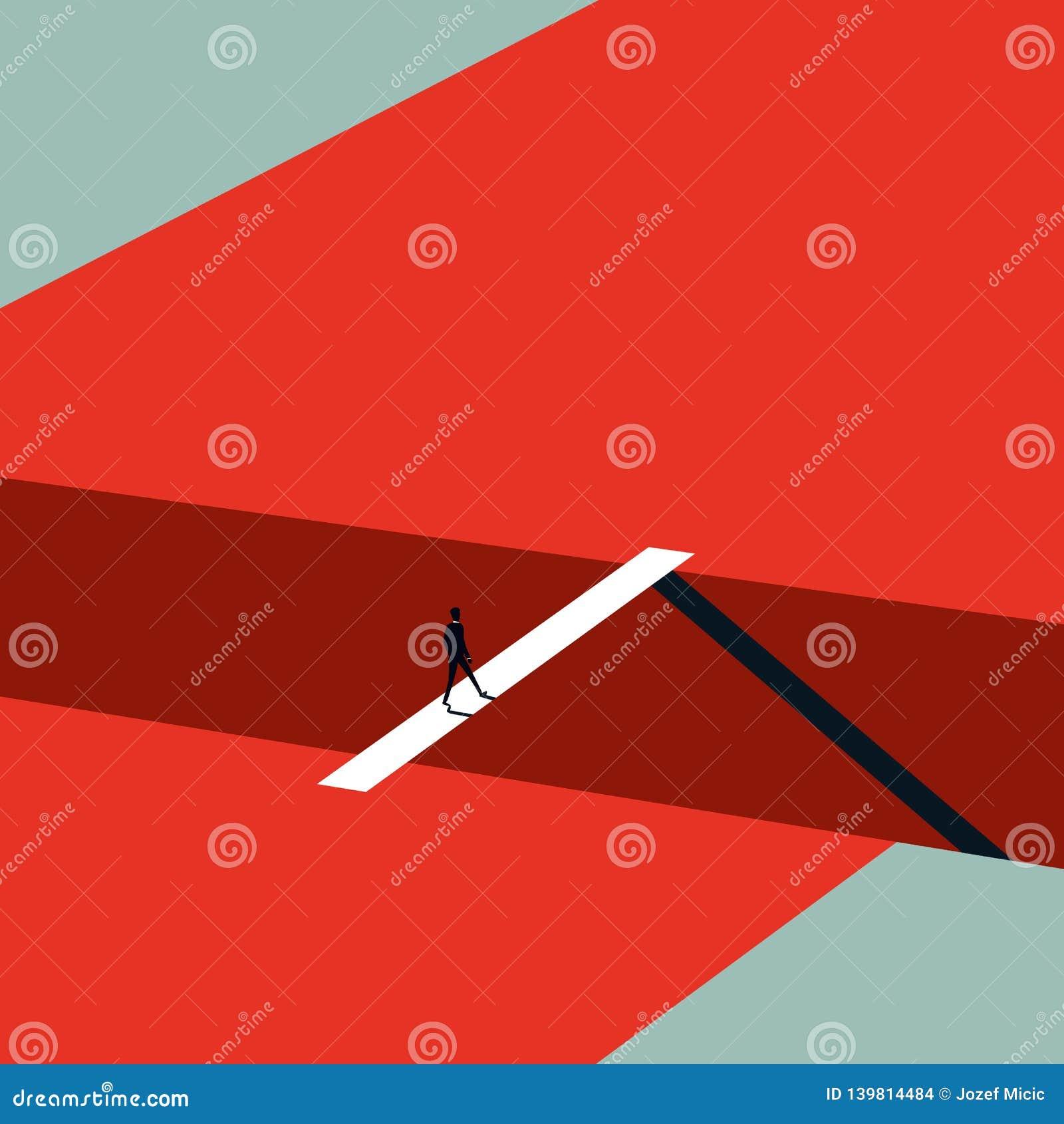 Concept de vecteur de défi d affaires dans le style minimaliste d art Homme d affaires marchant au-dessus du pont Symbole de l am