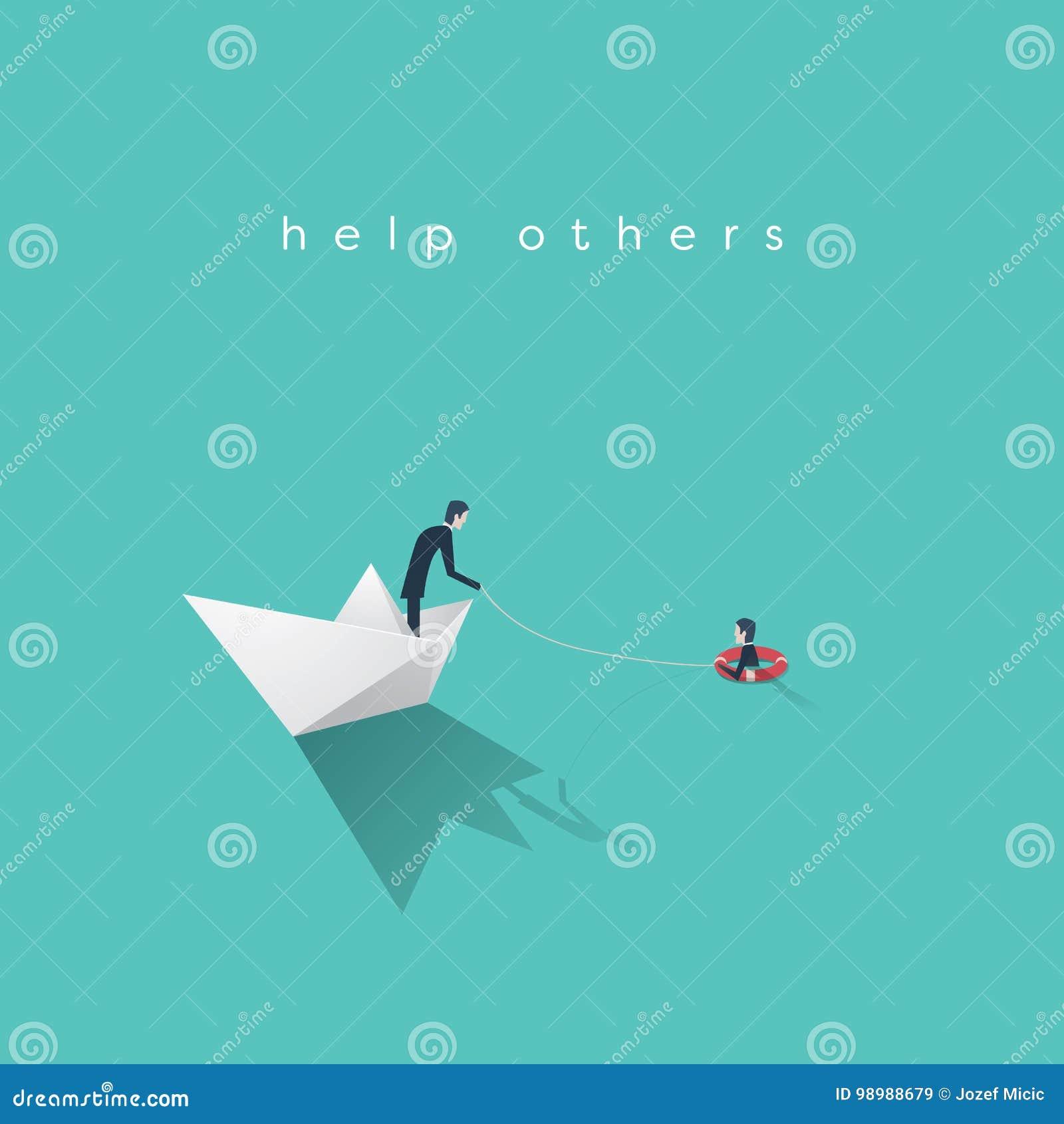 Concept de vecteur d aide d affaires Faillite, symbole de renflouement de gouvernement avec l homme d affaires sur le bateau de p