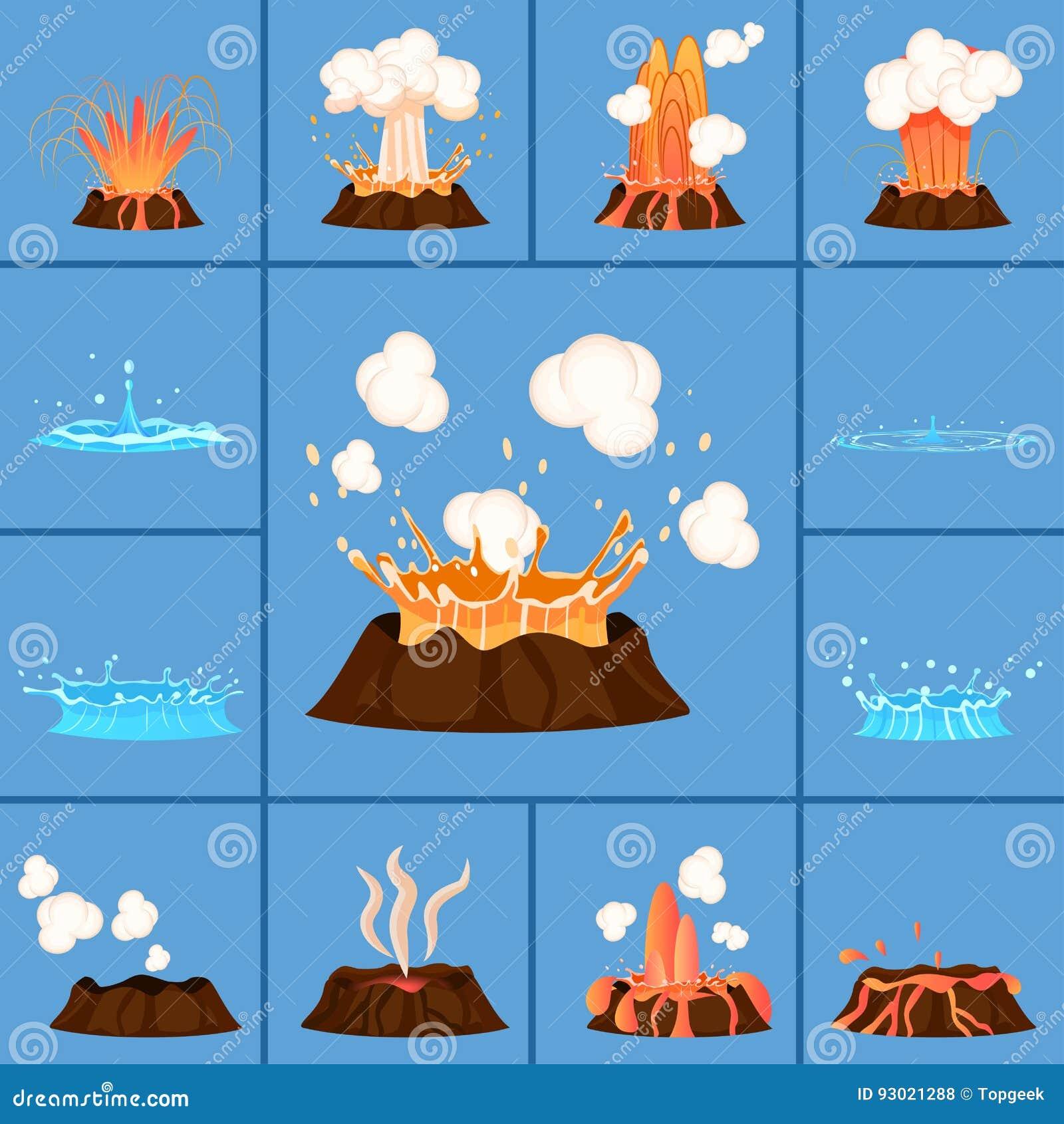 Concept de volcan actif et de geyser dans l action