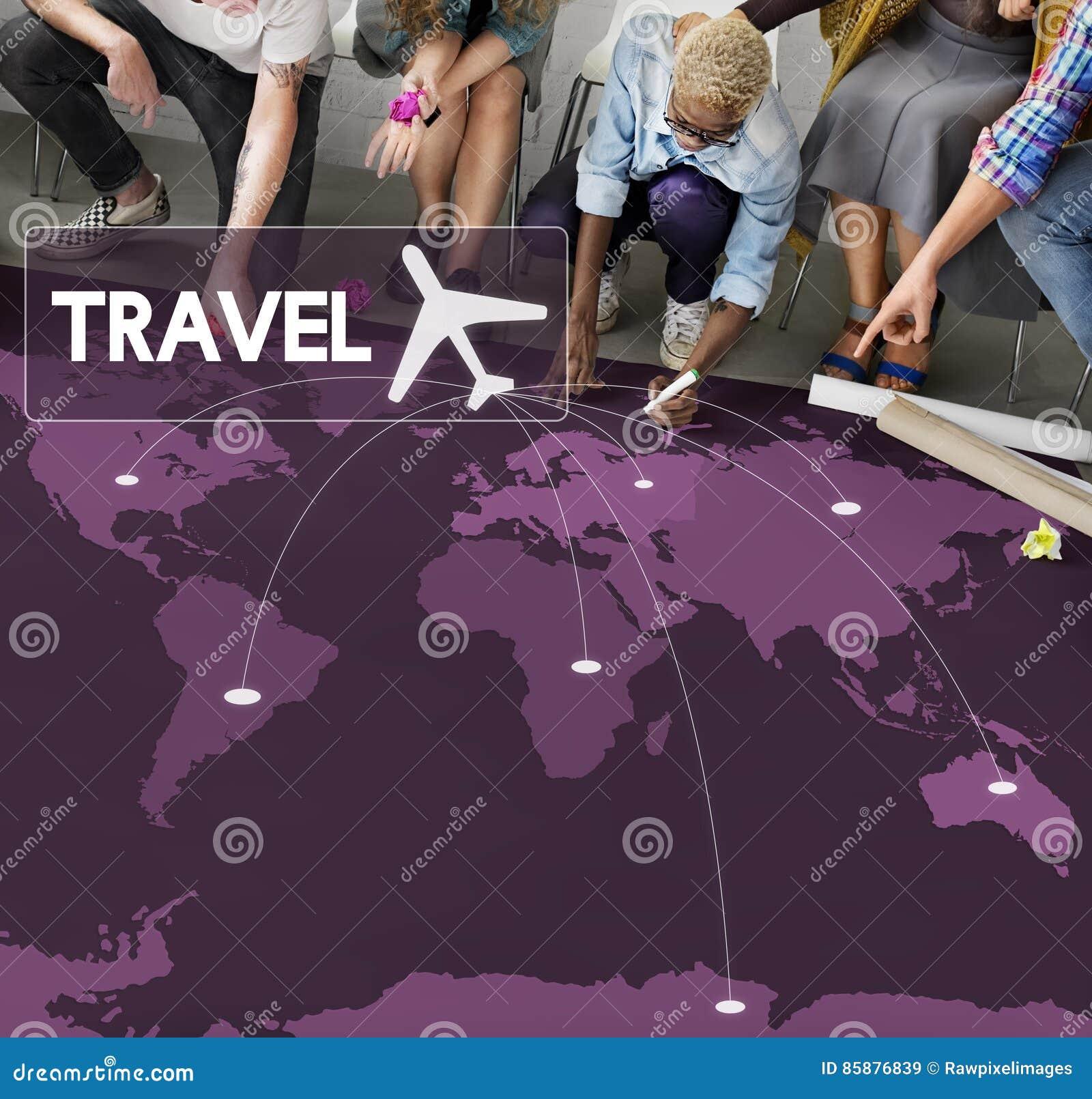 Concept de voyage de destination de réservation de billet de vol