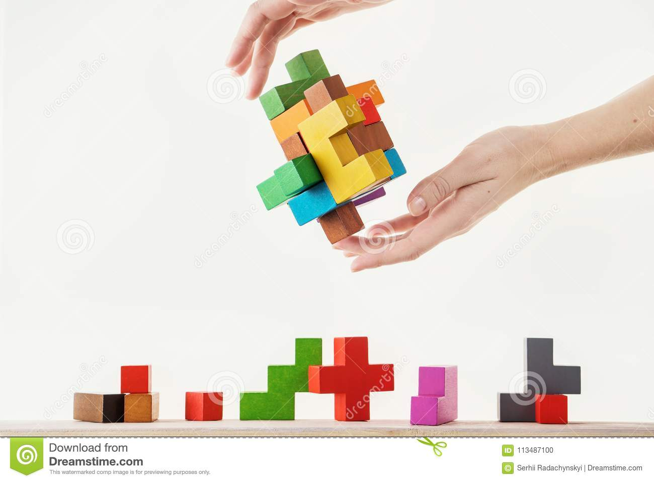Concept Of Decision Making Process Stock Photo Image Conundrum Logic Diagram Logical Thinking Tasks Find The Missing Piece Proposed Hand Holding Wooden Puzzle Element