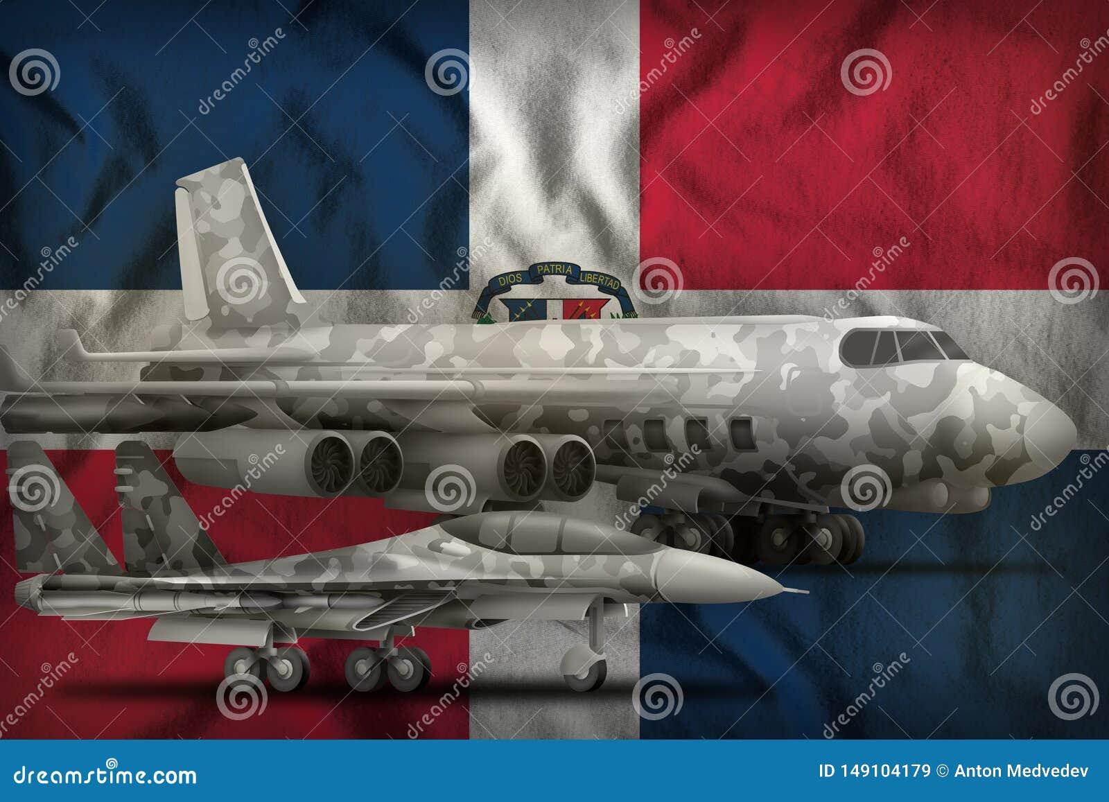 Concept des Arm?es de l Air de la R?publique Dominicaine sur le fond de drapeau d ?tat illustration 3D