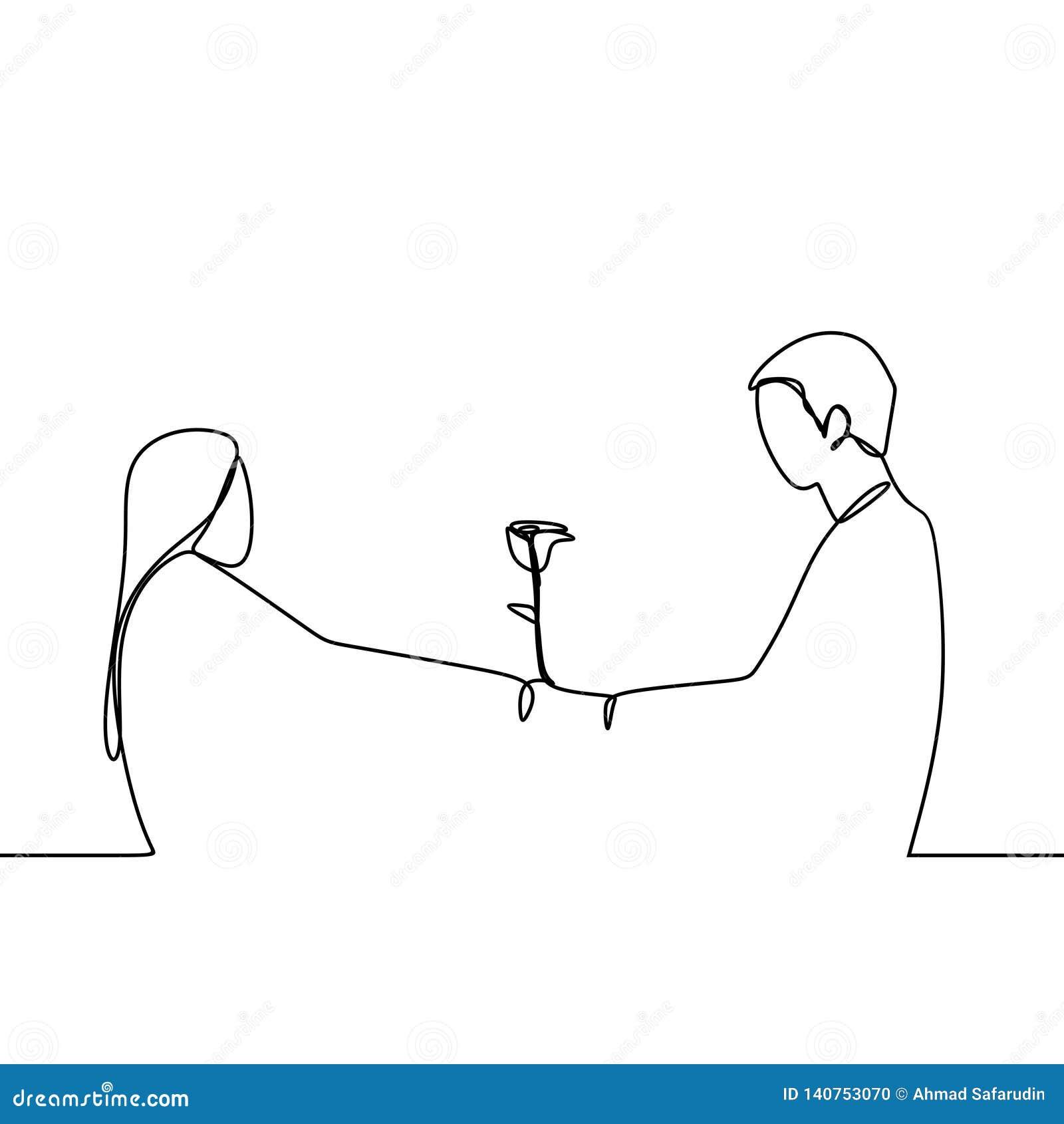 Concept Des Couples Romantiques Dans Continu Illustration