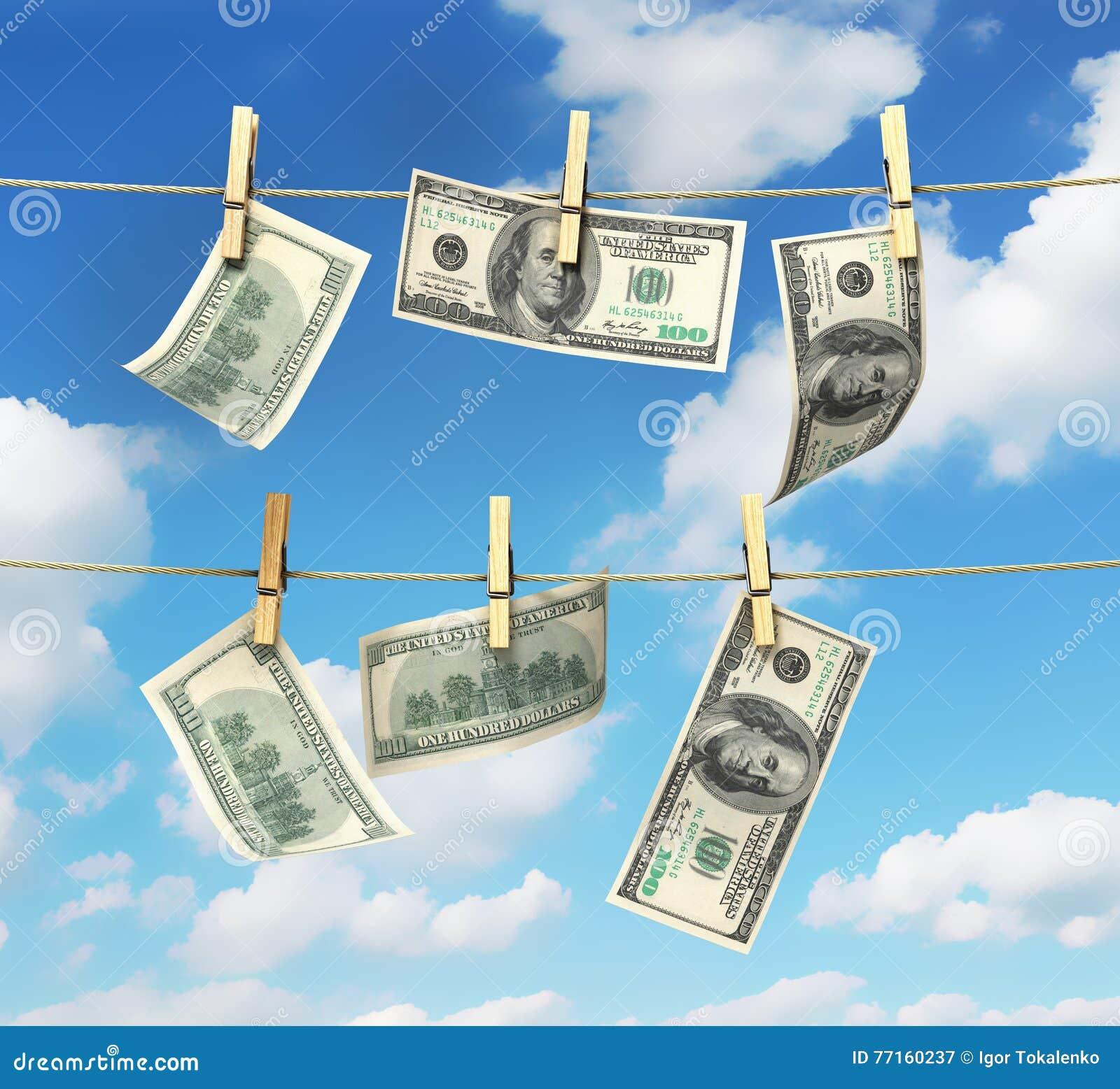 Concept des factures d argent du dollar de blanchiment d argent