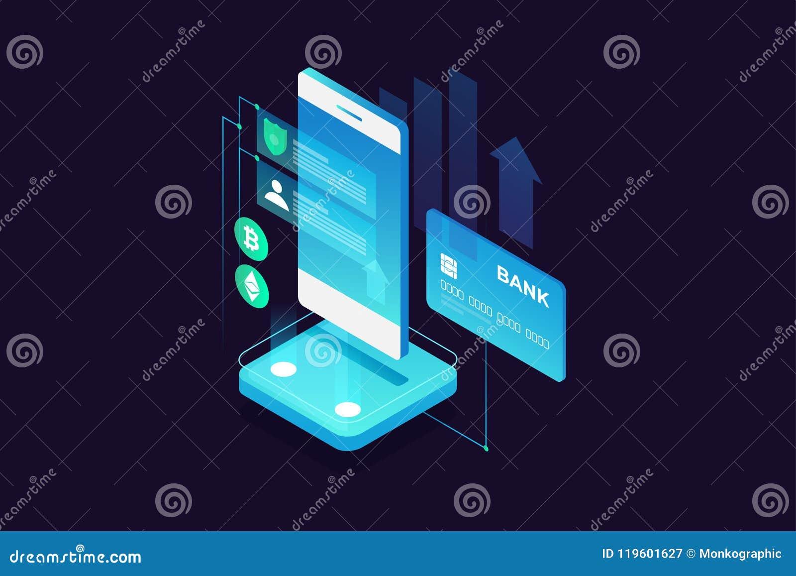 Concept des paiements mobiles, protection des données personnelle Argent de transfert de carte