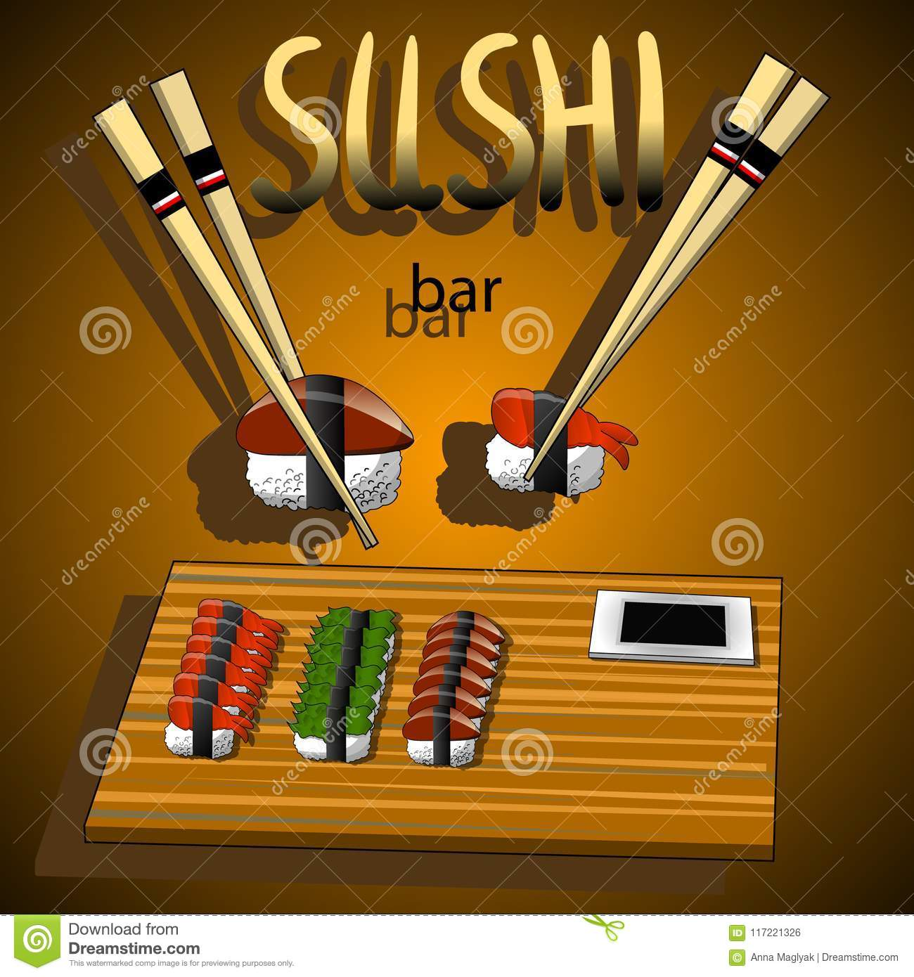 Concept Design Of The Invitation Sushi Restaurant Vector Illustration Stock Vector Illustration Of Pattern Japan 117221326