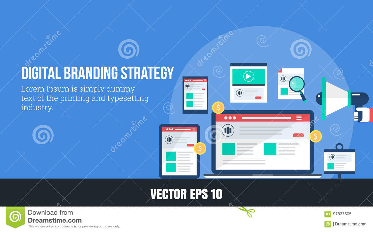 cd775d9d6315c Concept of digital branding - online brand strategy, flat design vector web  banner
