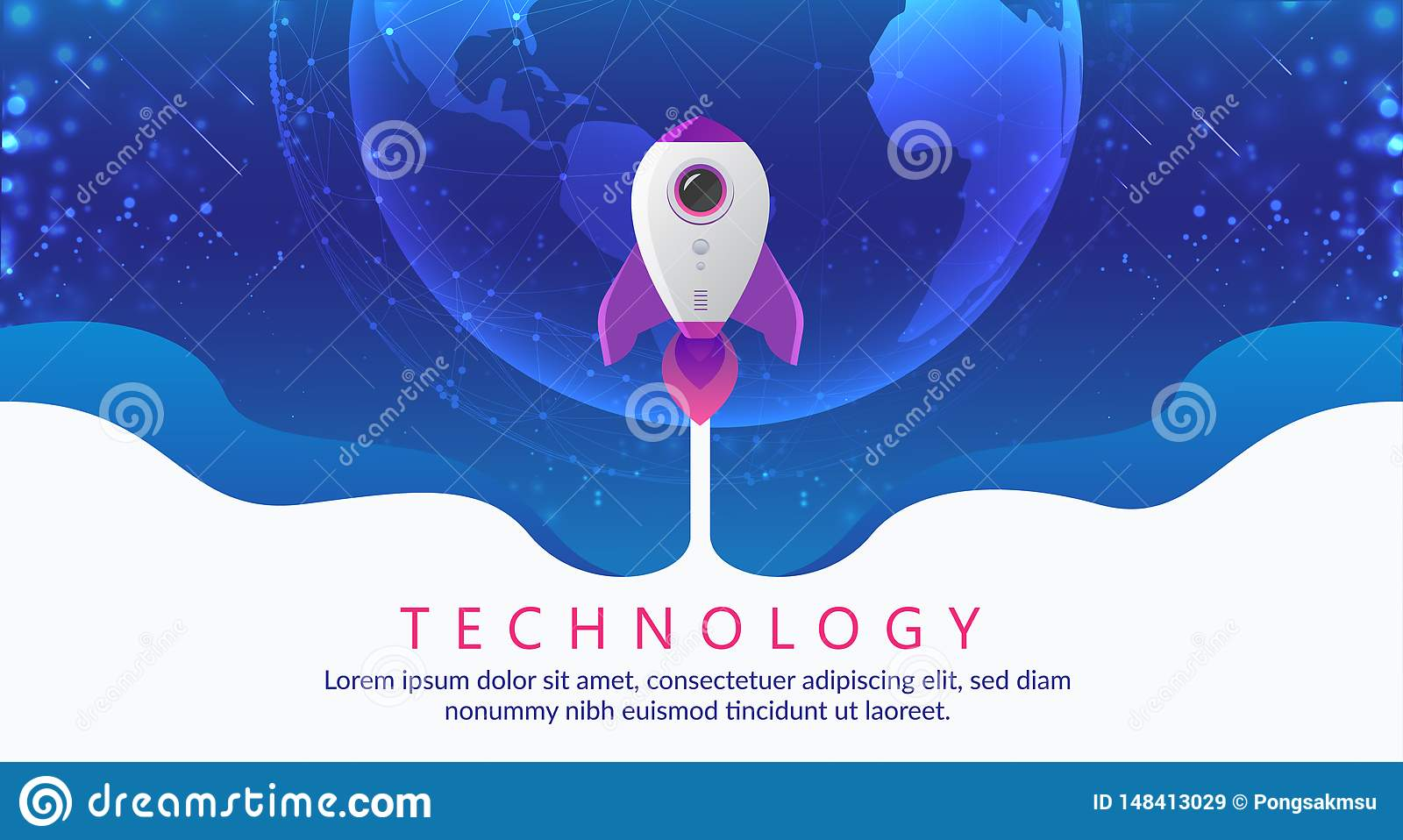 Concept of digital technology. Rocket flying to space