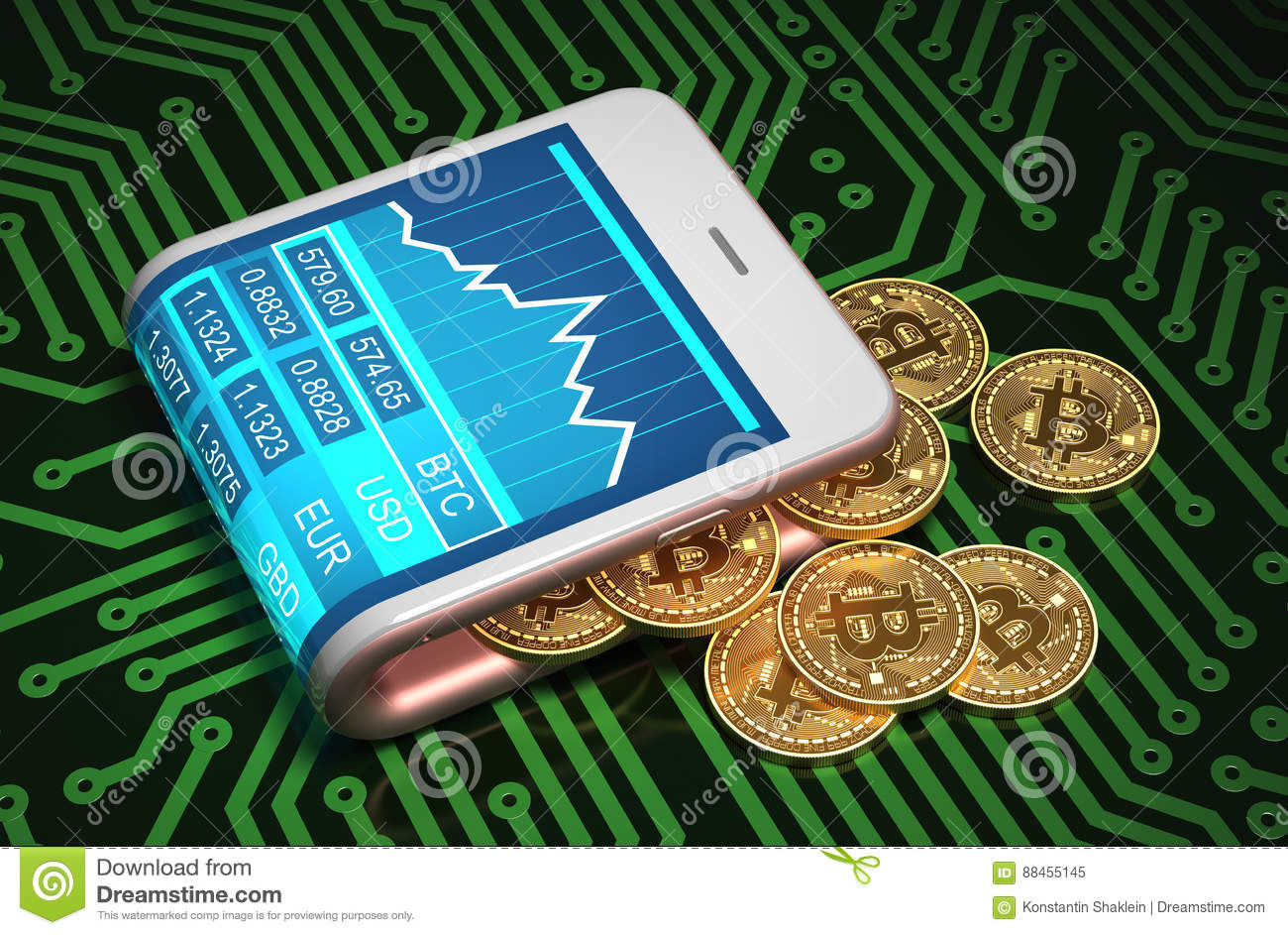 Concept Of Digital Wallet And Bitcoins On Printed Circuit Board Where Are The Gold Silver Boards