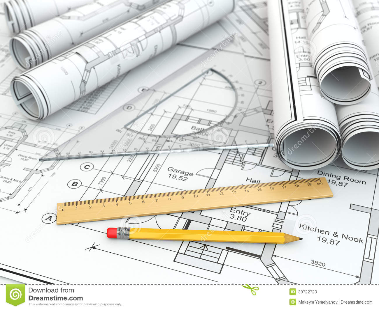 Blueprints And Drafting Tools Stock Photos