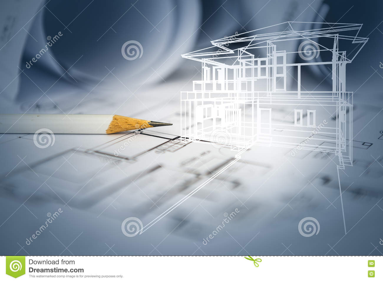 Concept Of Dream House Draw By Designer With Construction Drawing Royalty Free Stock Image