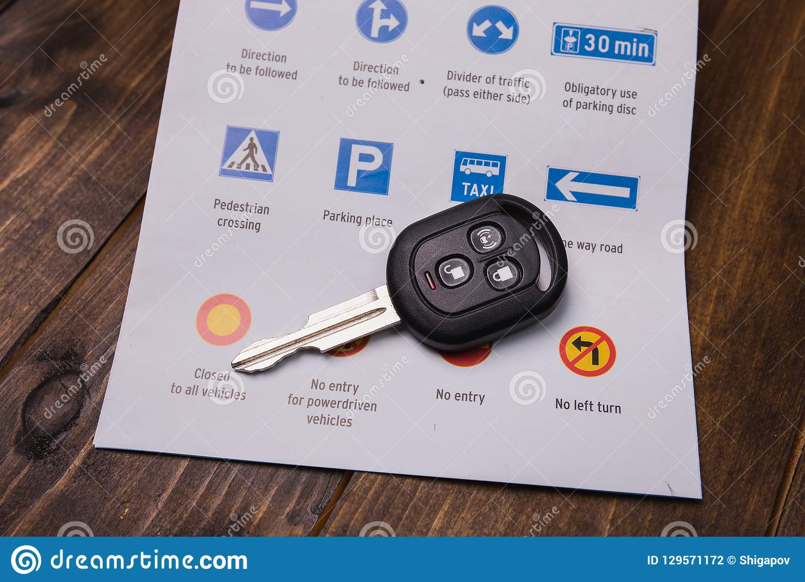 Concept - driving instruction. Closeup of road signs and car key