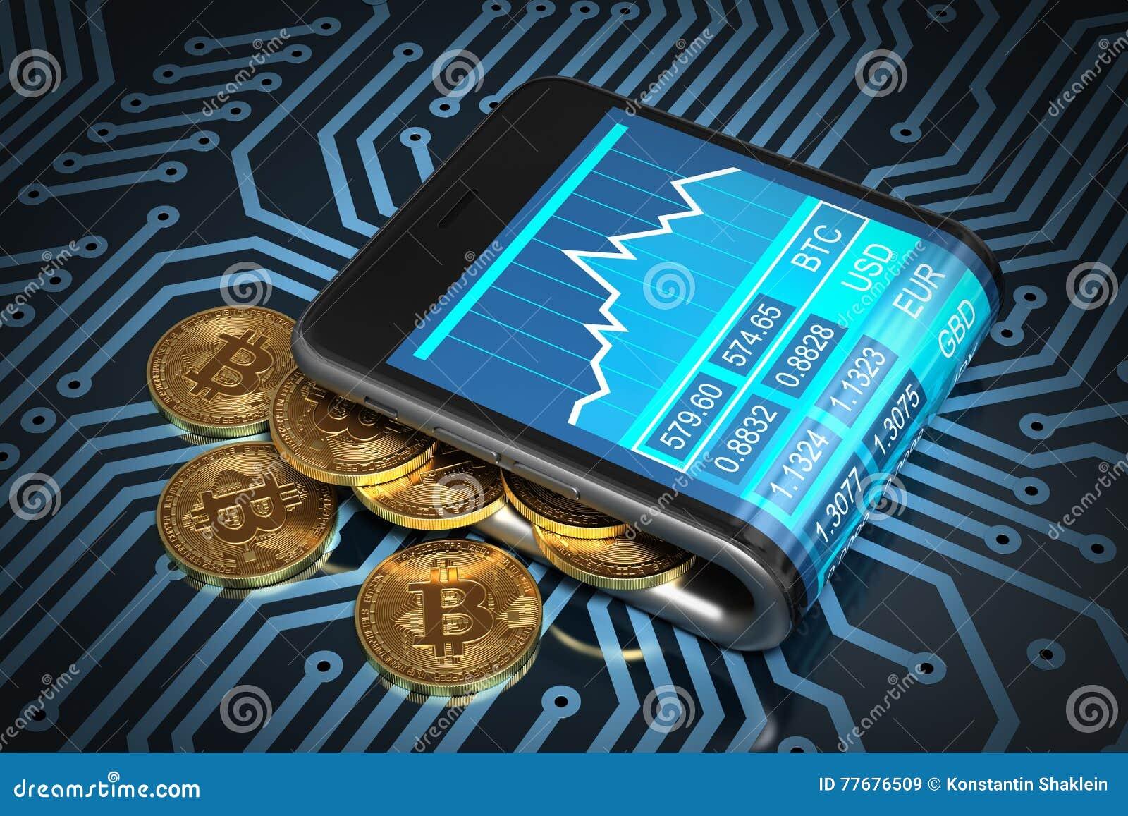 Concept du portefeuille de Digital et de l or Bitcoins sur la carte électronique