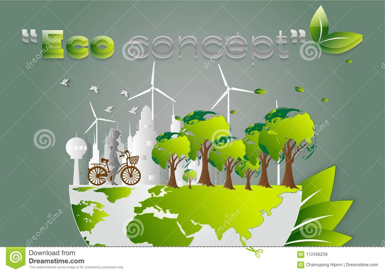 Concept Of Eco Creative Drawing World Map Global Ecological Concepts