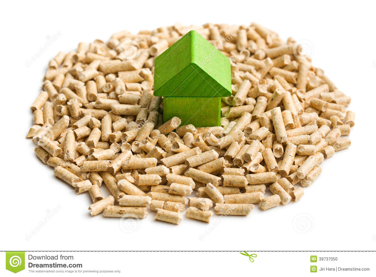 Wooden pellets with price tag royalty free stock image