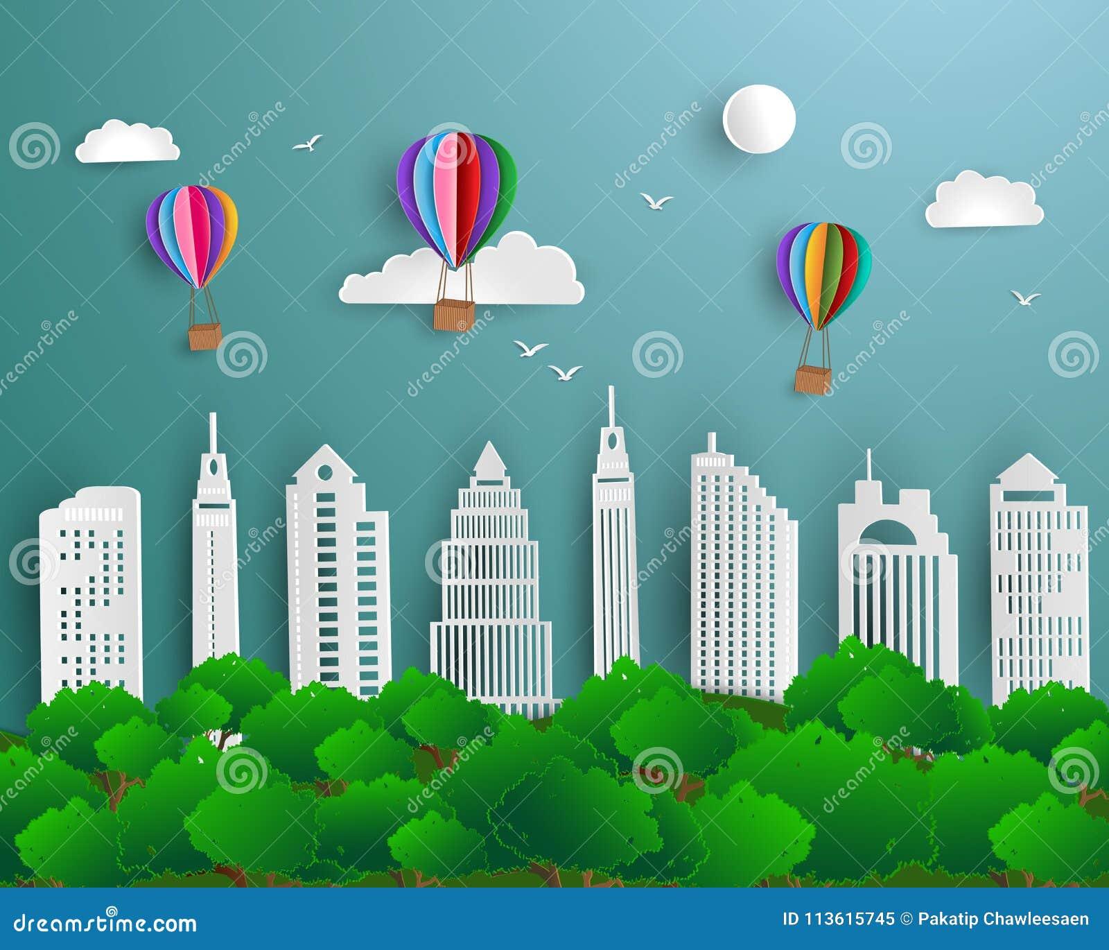 Concept ecologie en milieu met het stedelijke landschap van de stads groene aard